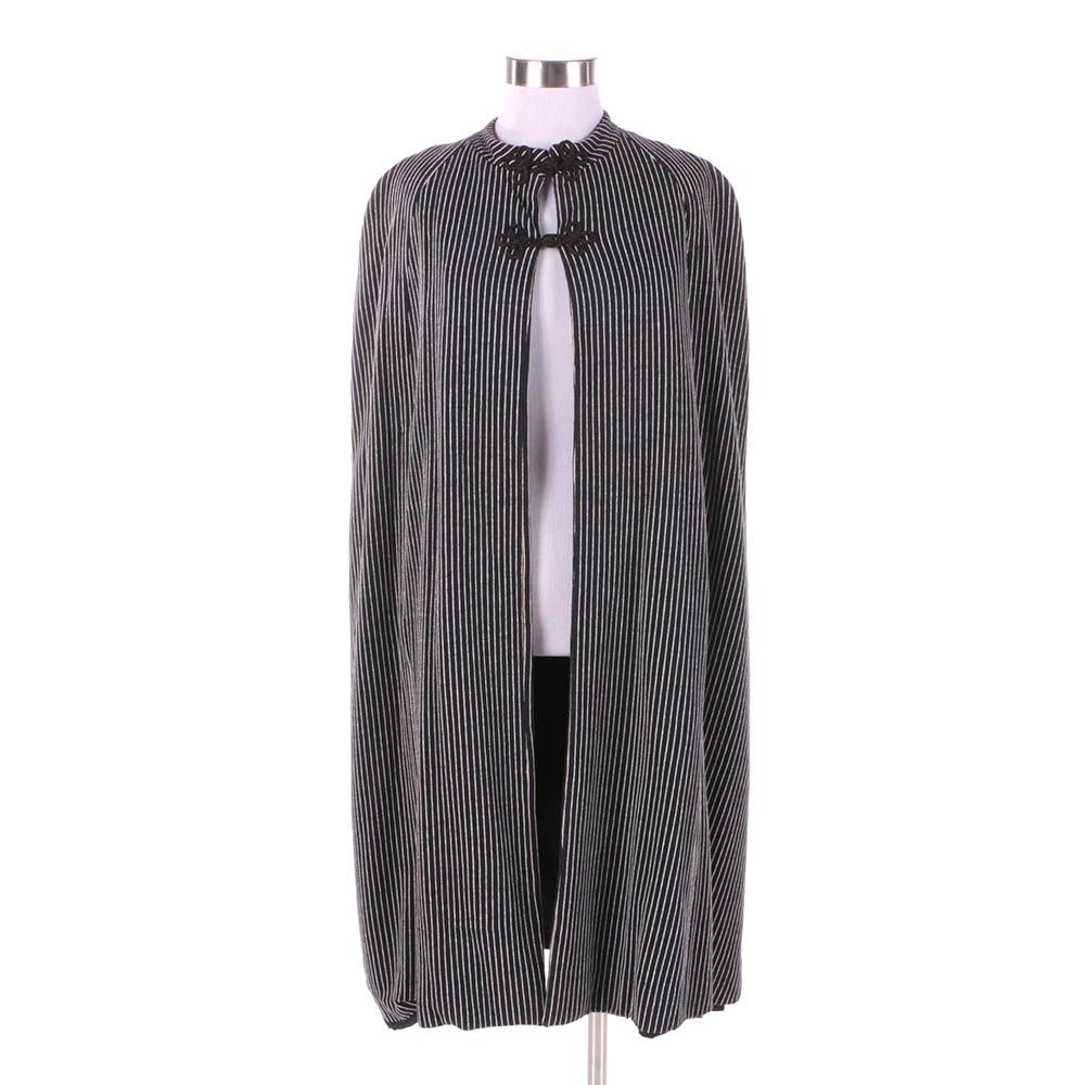 1960s Vintage Mod Black and White Stripe Cape with Frog Buttons