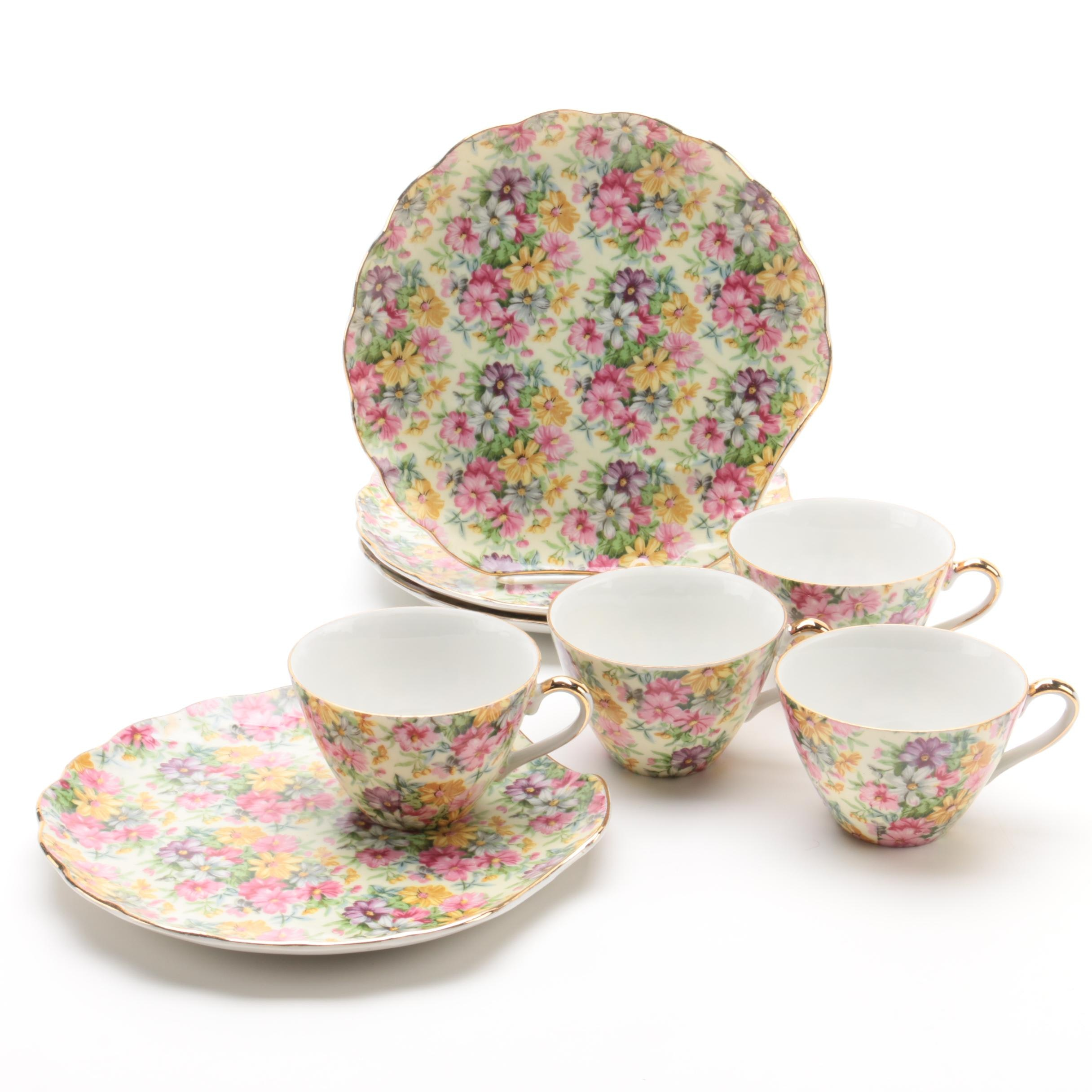 Floral Porcelain Teacup and Snack Plate Set for Four