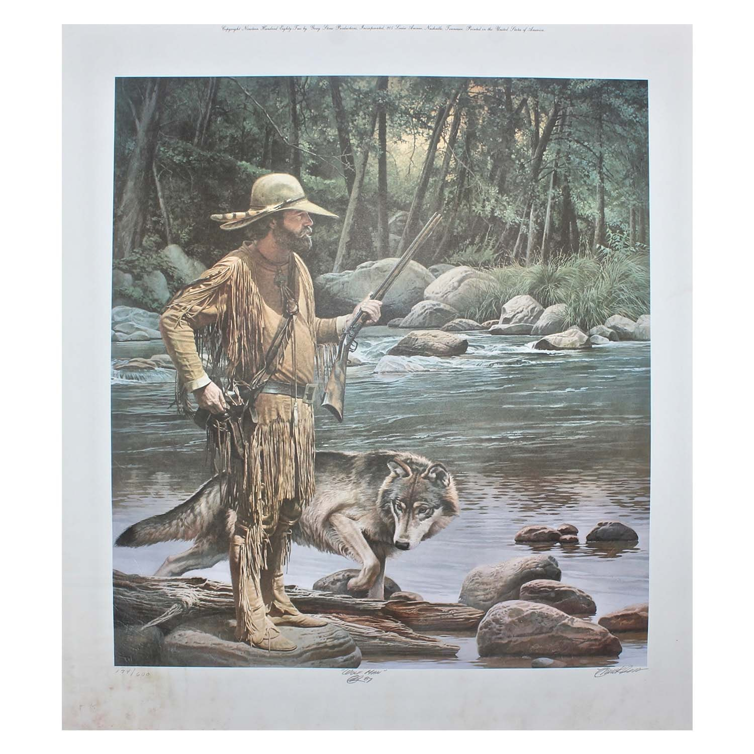 """Chuck Ren Signed Limited Edition Offset Lithograph """"Wolf Man"""""""