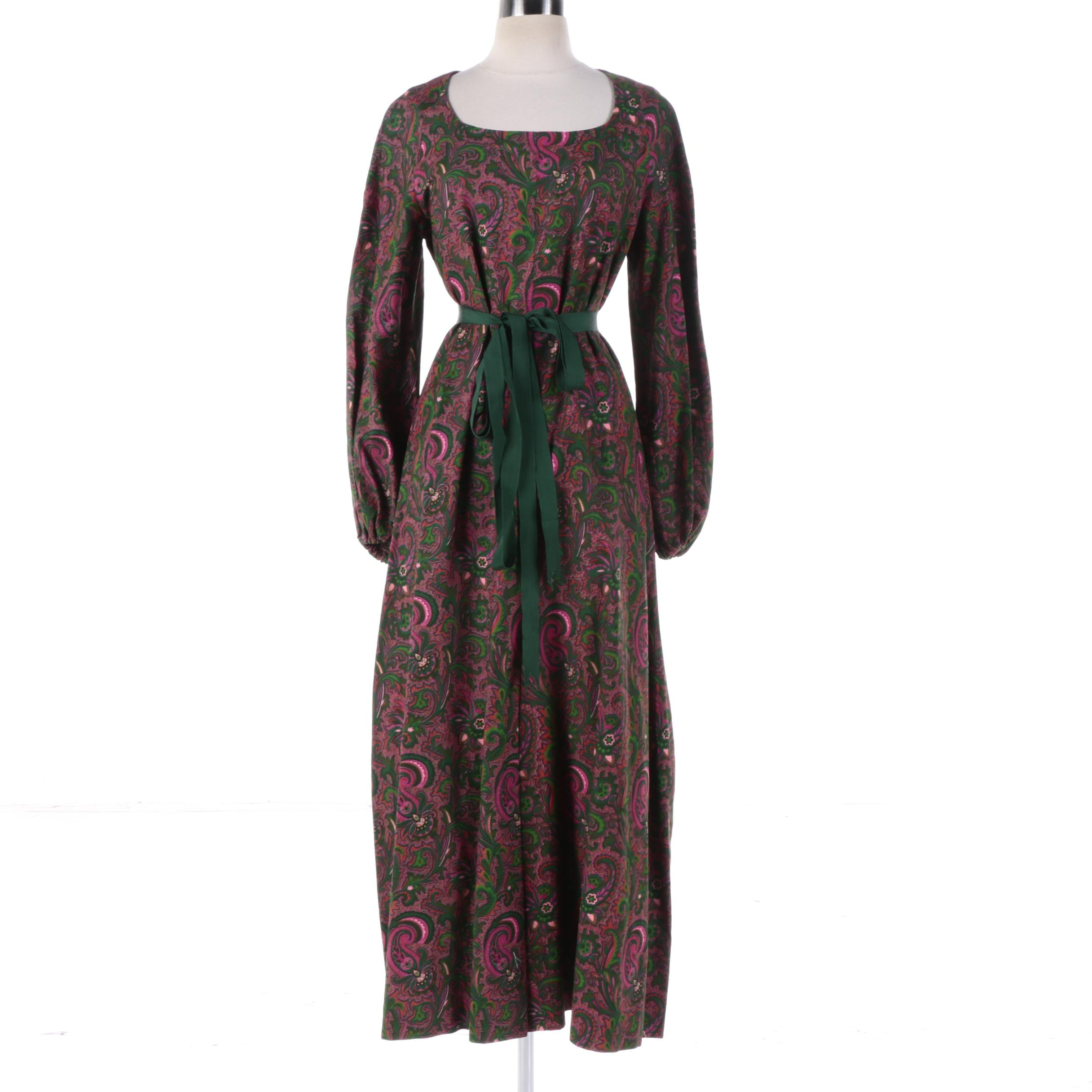 Women's 1980s Vintage Diane Pink and Green Paisley Wide Leg Jumpsuit