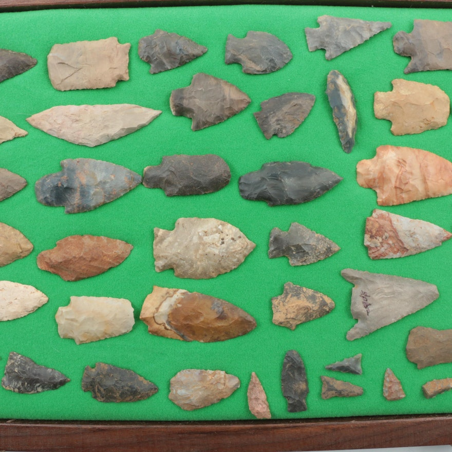 Collection of Forty-Five Bifacial Chert Points