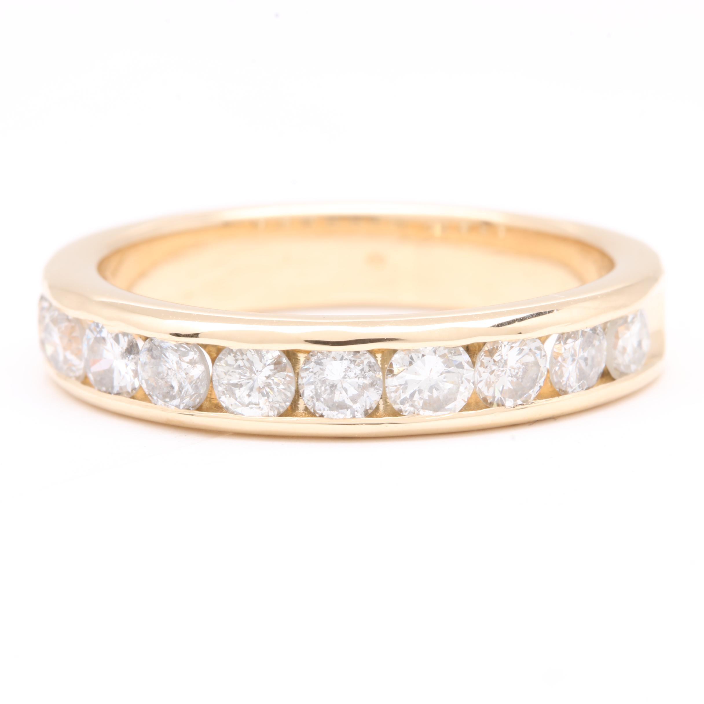 14K Yellow Gold Diamond Channel Ring Band