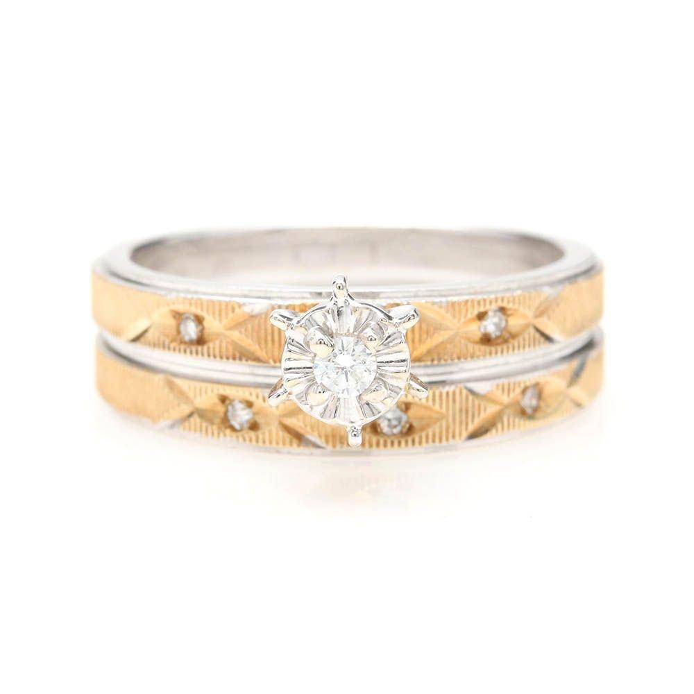 14K White and Yellow Gold Diamond Ring Set