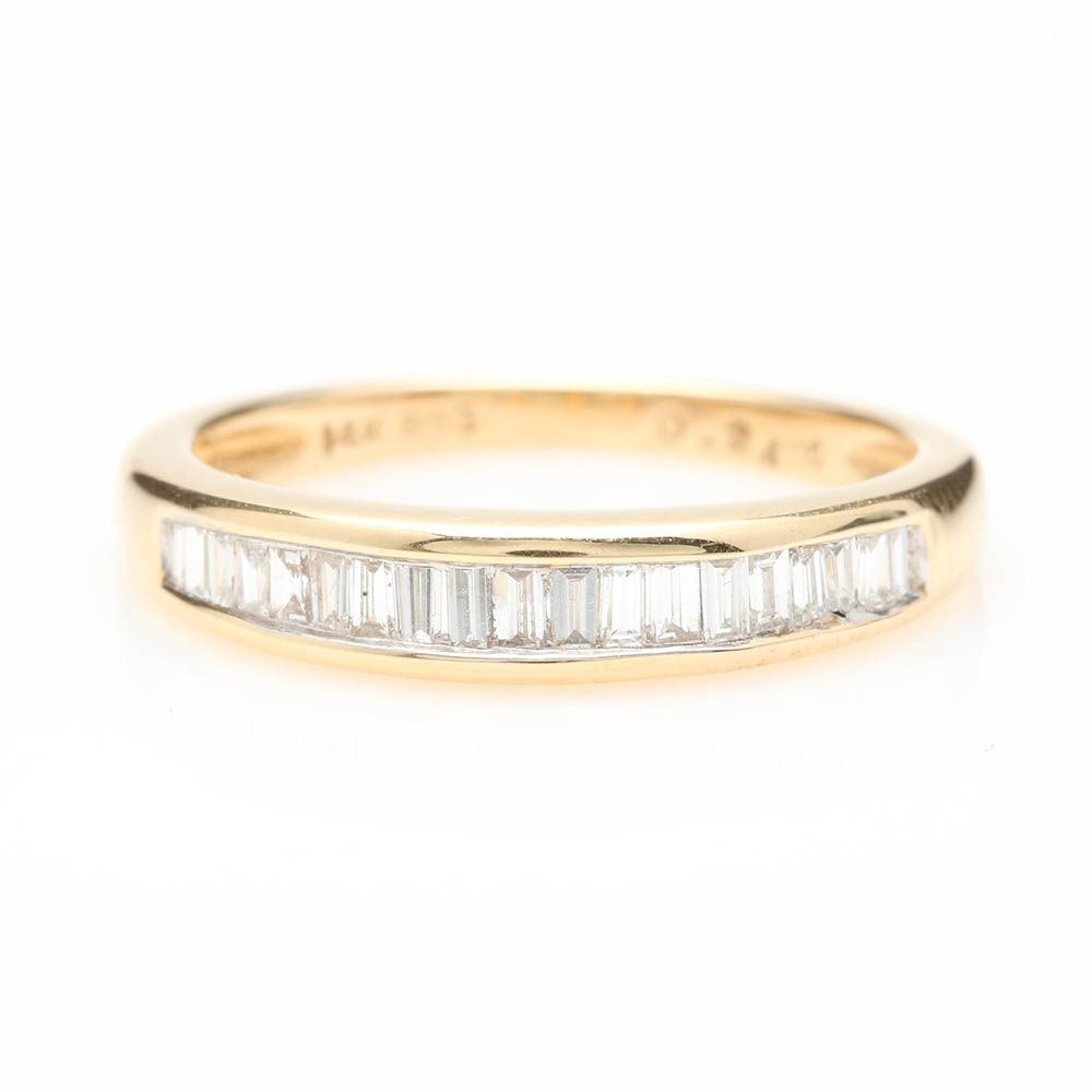 14K Yellow Gold Diamond Channel Band