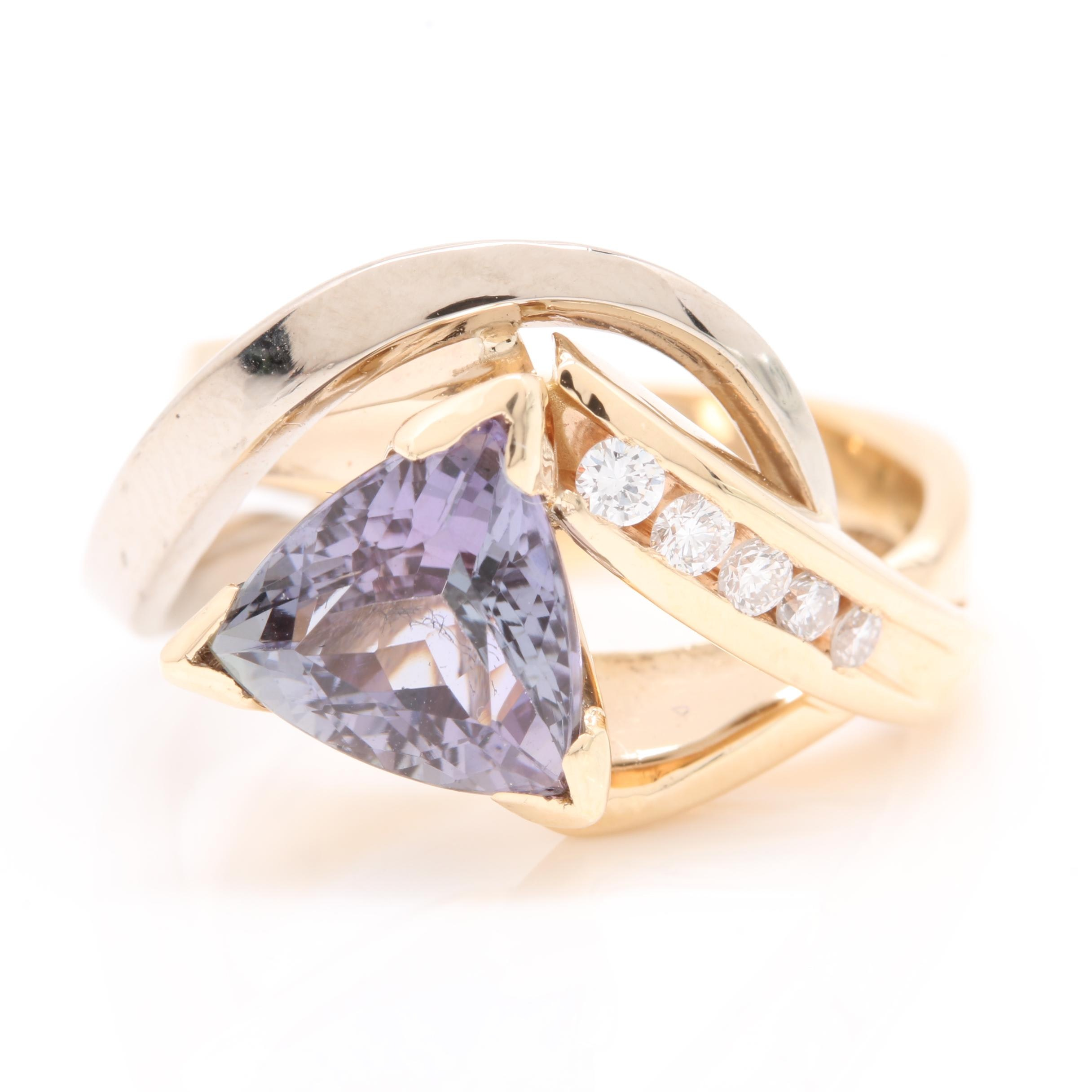 14K Yellow Gold Tanzanite and Diamond Ring with 18K White Gold Accent