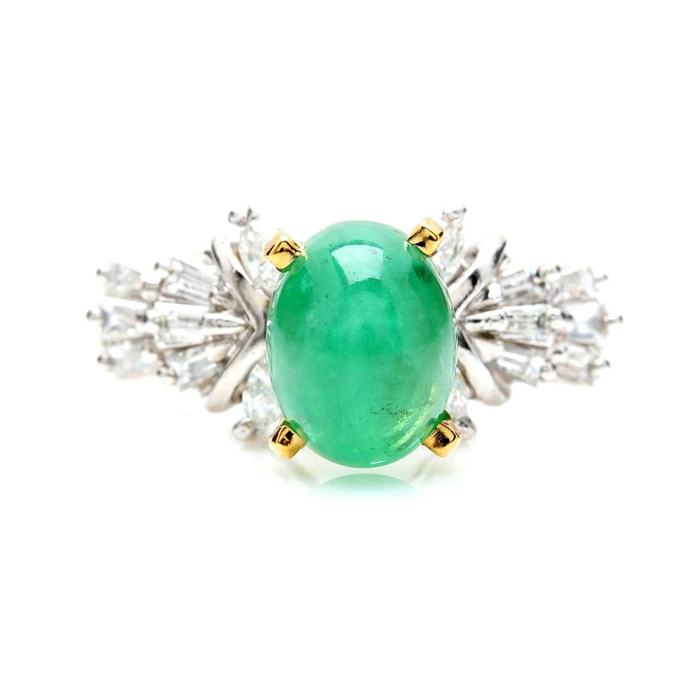Platinum and 14K Yellow Gold 2.52 CT Emerald and Diamond Ring