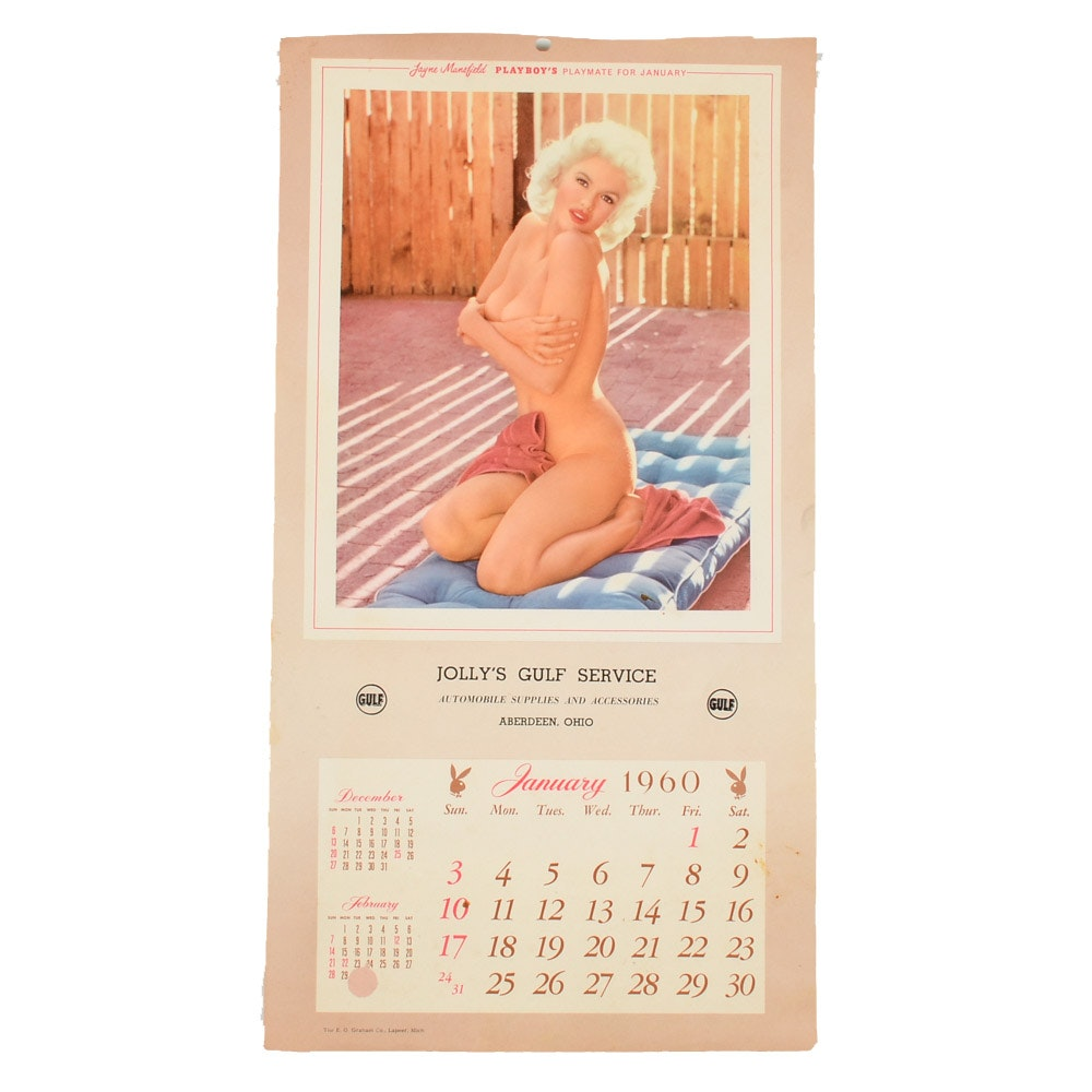 1960 Jolly Gulf Oil Promotional Playboy Pin-Up Calendar Page Janes Mansfield