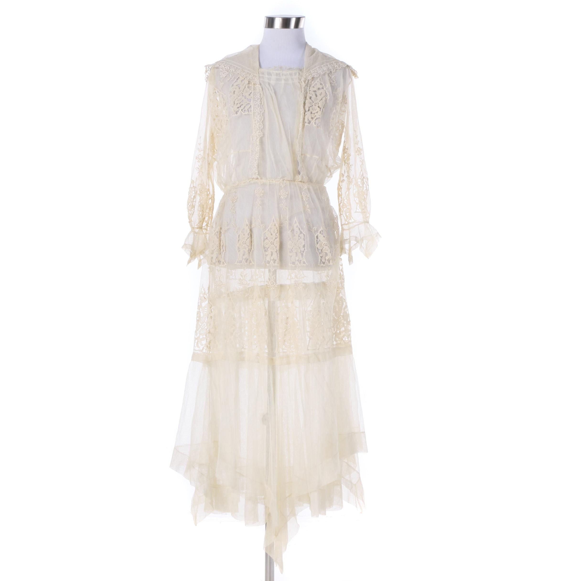 Circa 1920s Antique Lace and Mesh Dress