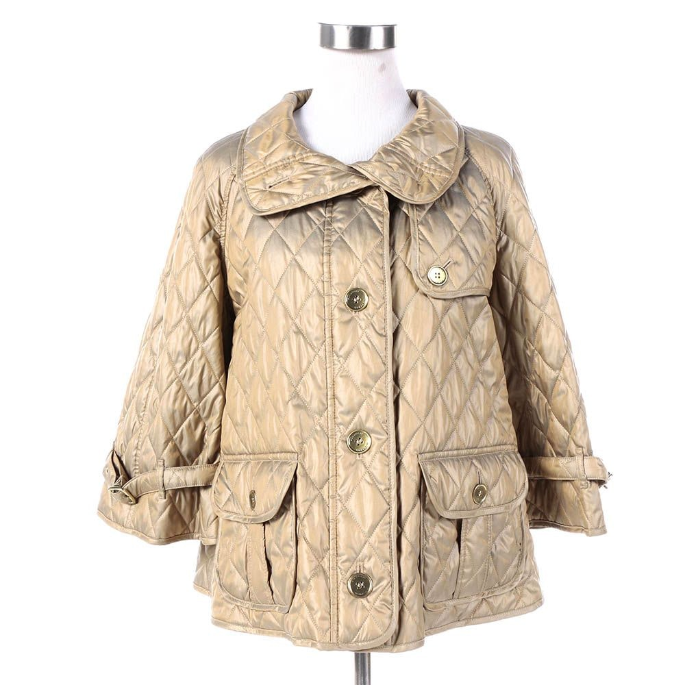 Women's Burberry Metallic Gold Quilted Swing Jacket