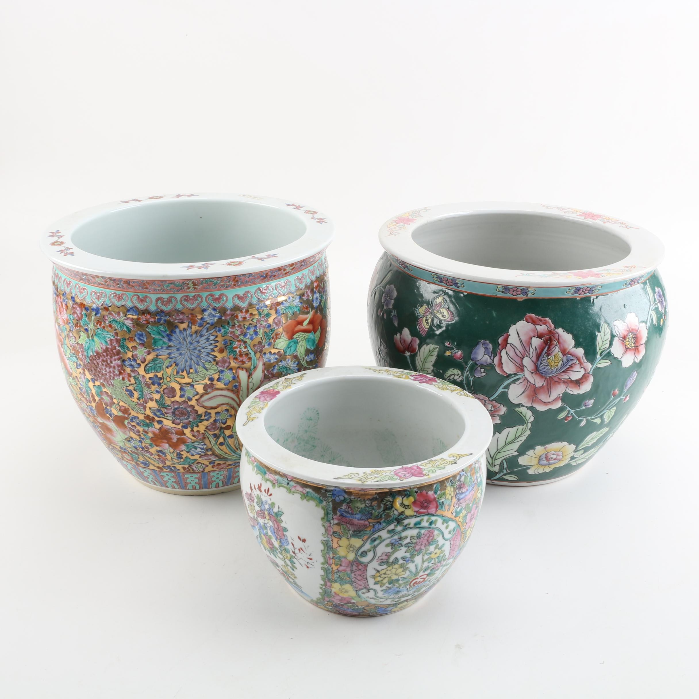 Chinoiserie Floral Ceramic Fishbowl Planters