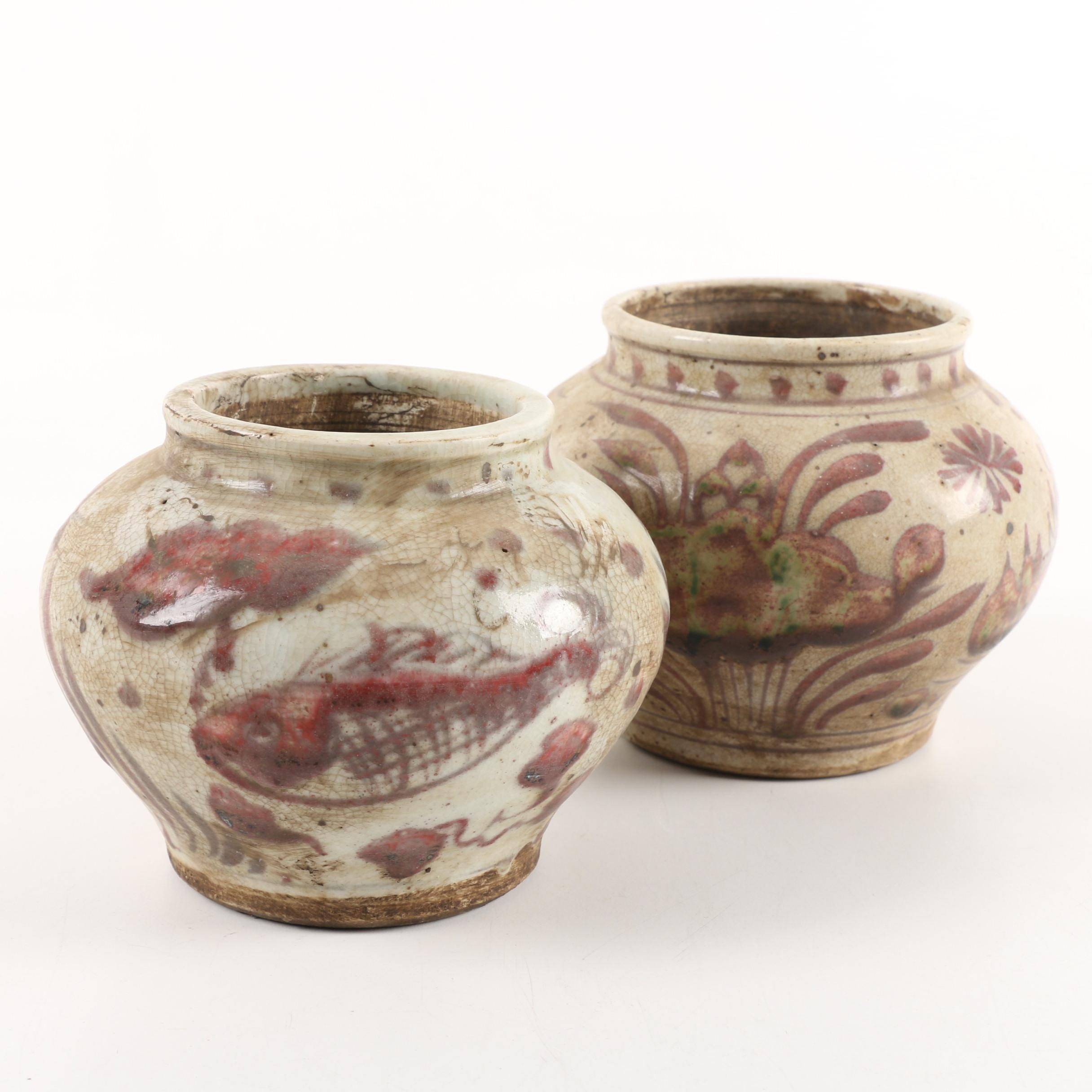 Chinese Tan and Red Fish Motif Ceramic Planters