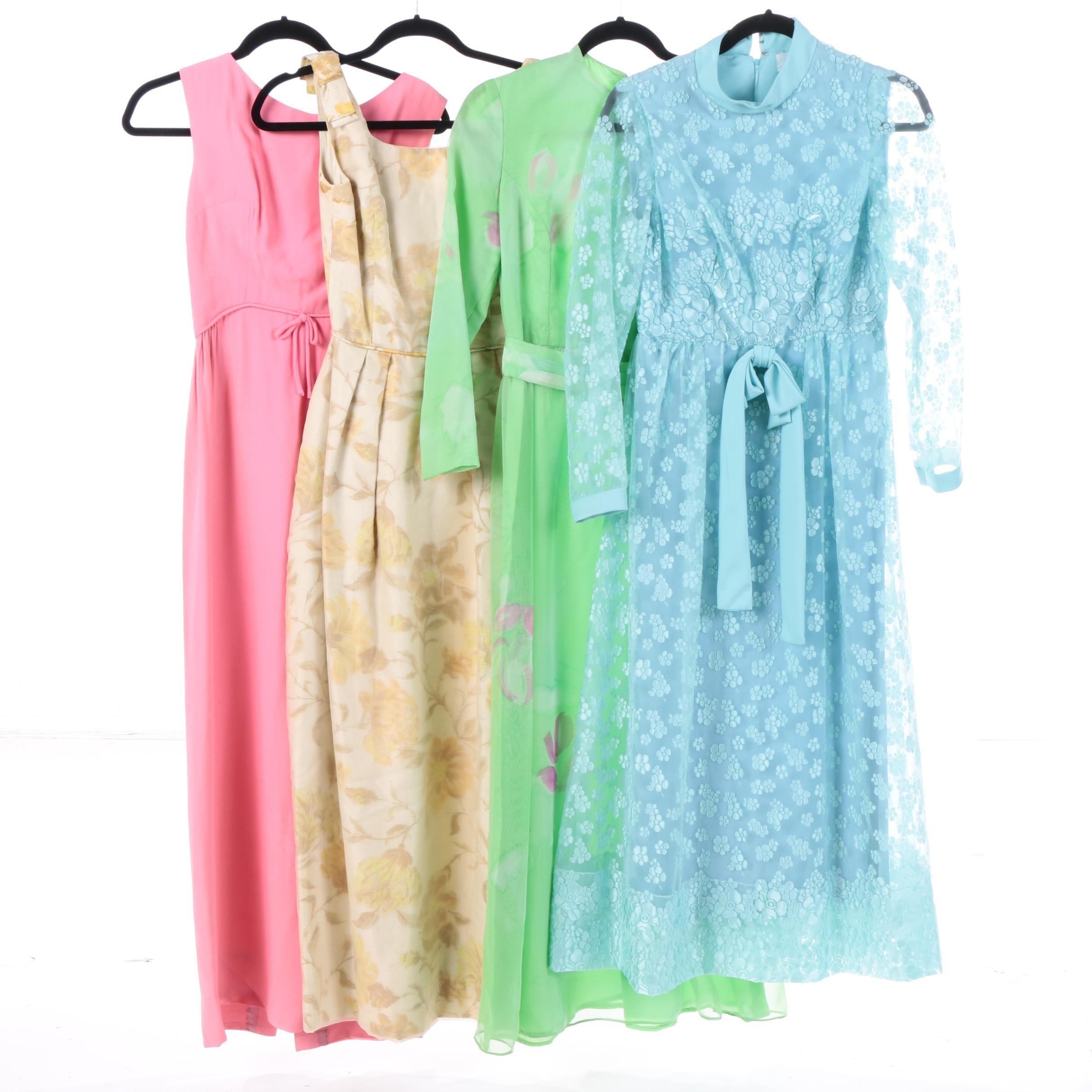 1960s Vintage Pastel Maxi Dresses Including Sakowitz