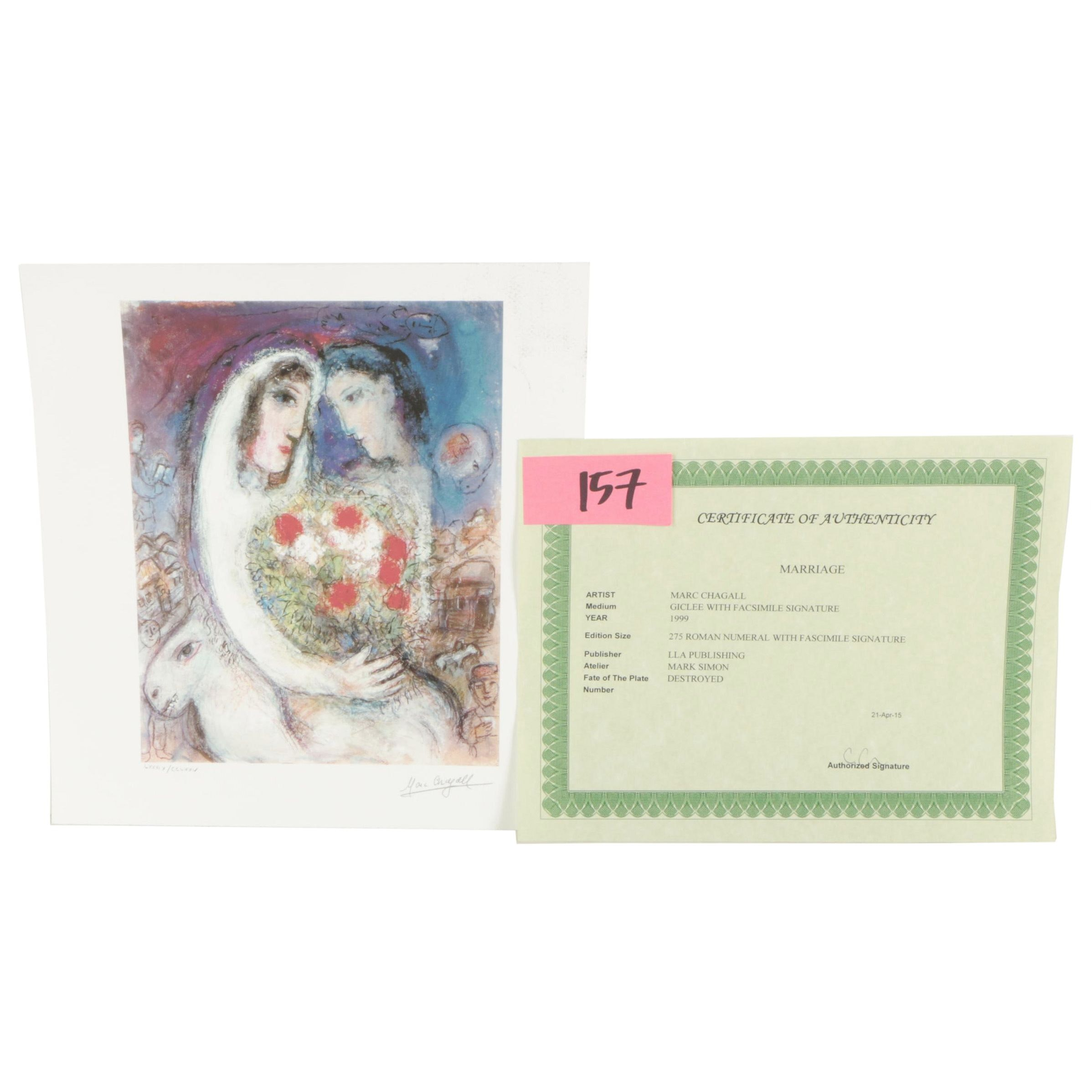 "Limited Edition Giclée Reproduction After Marc Chagall ""Marriage"""