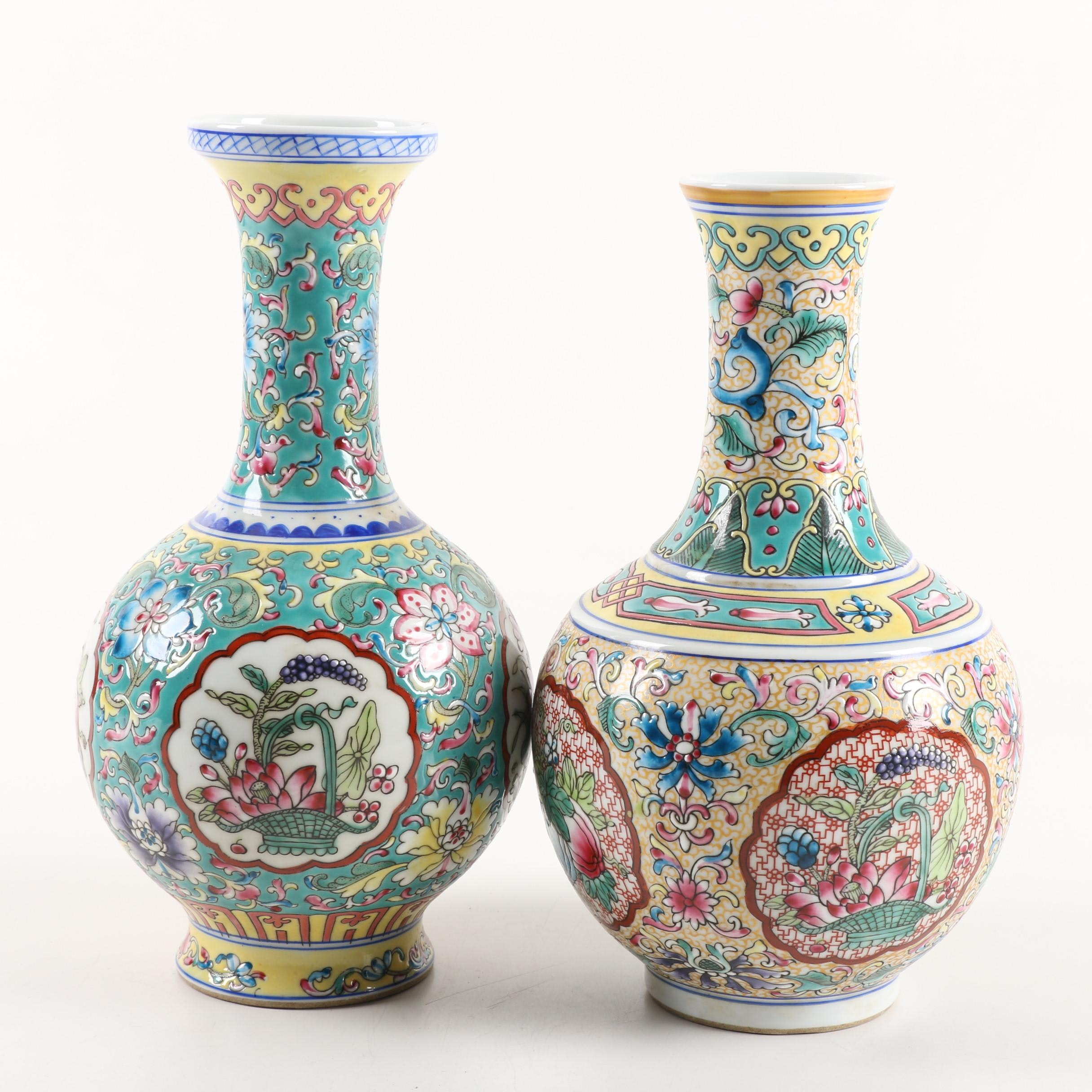 Chinese Hand-Painted Floral Ceramic Vases