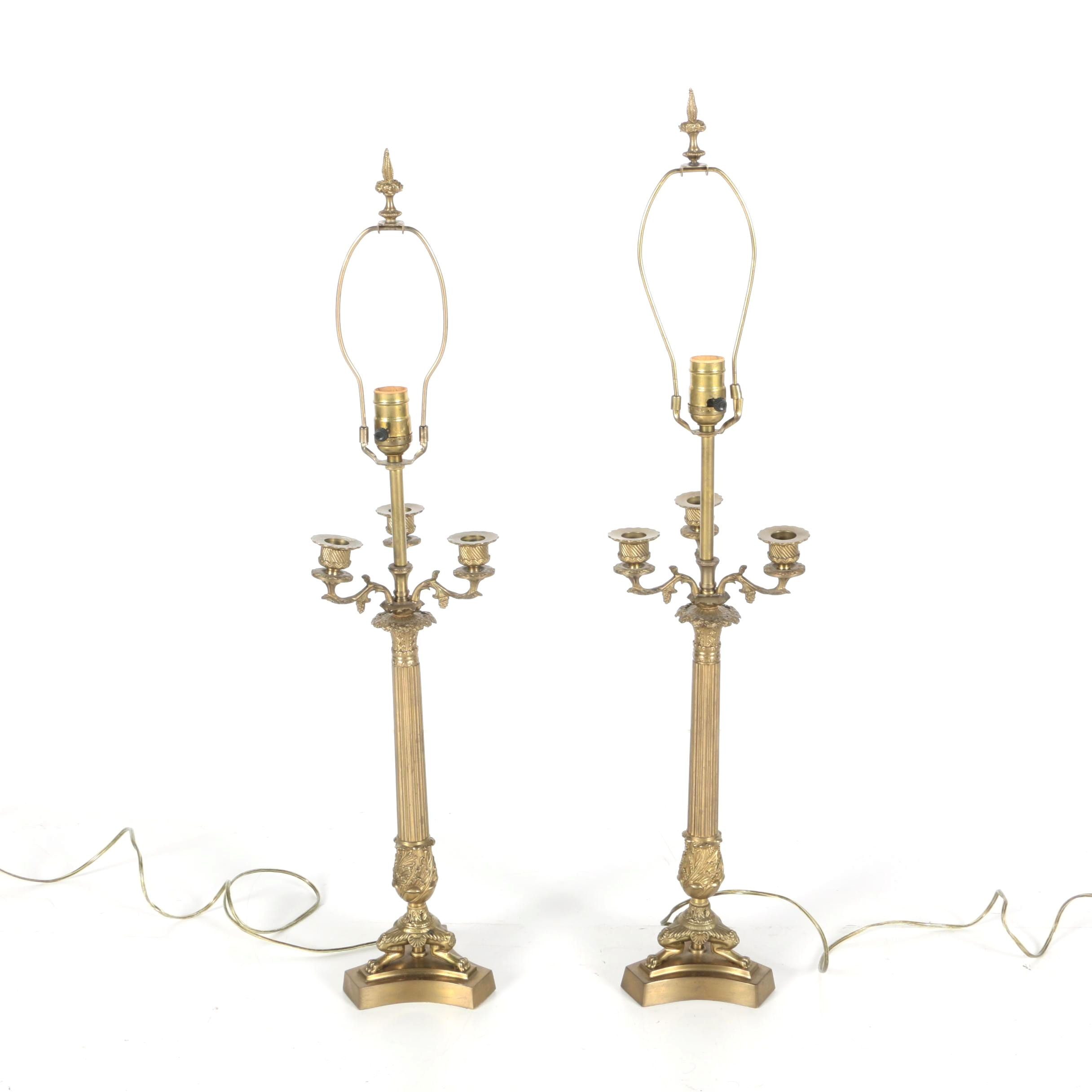 Pair of Classical Revival Candelabra Style Table Lamps