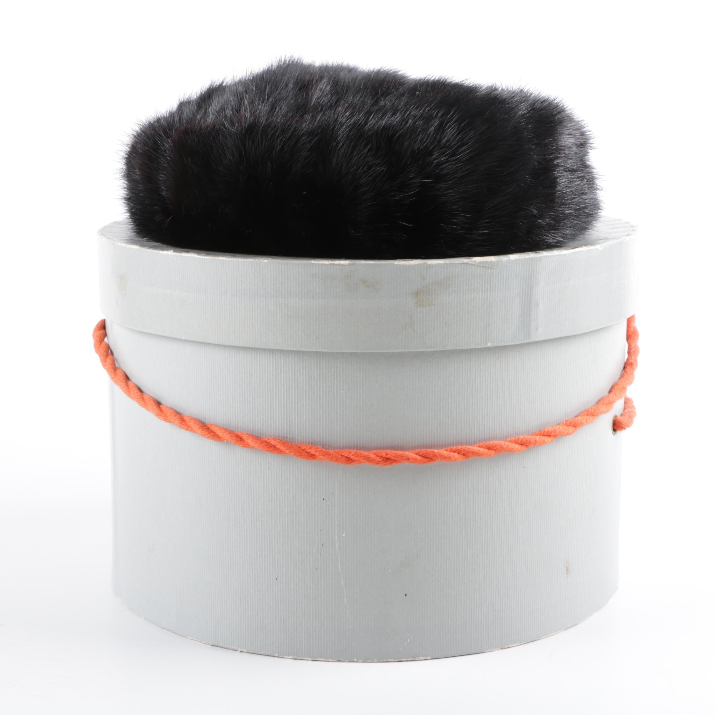Vintage Miss Alice Black Mink Fur Hat