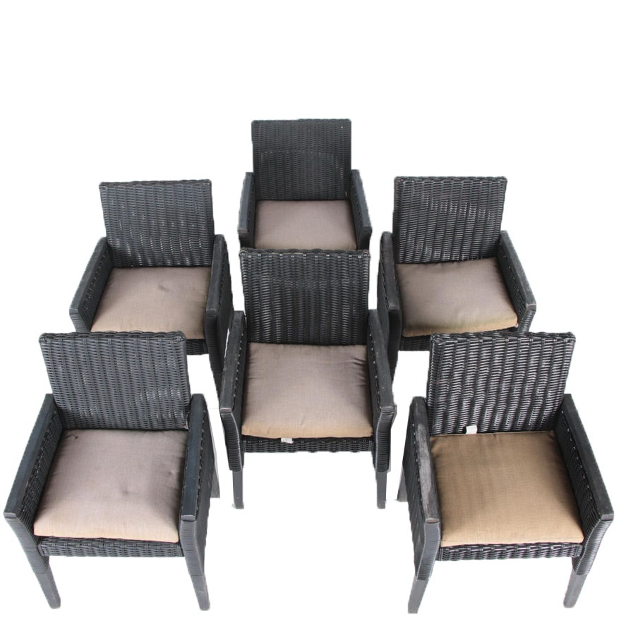 Six Woven Patio Chairs with Katie Brown for Meijer Cushions