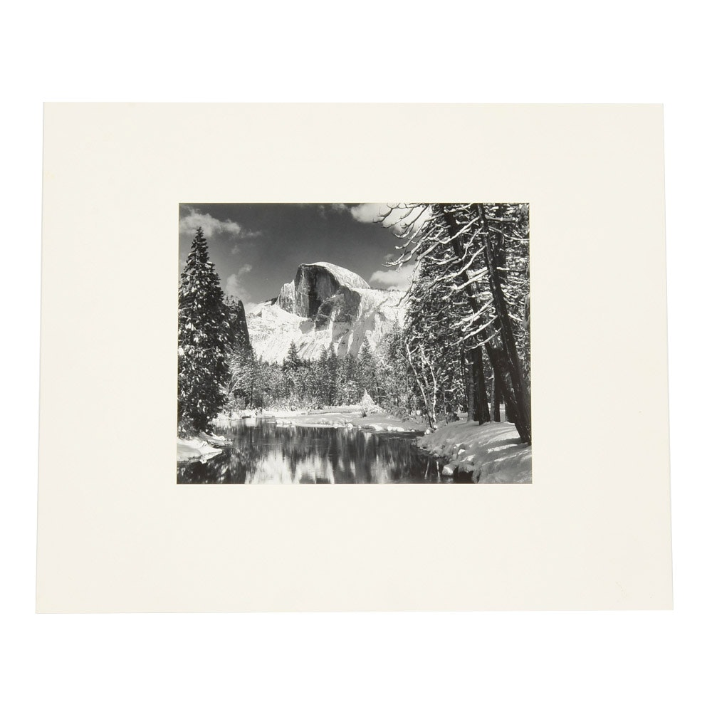 "Ansel Adams Vintage Reprinted Photograph ""Half Dome, Merced River, Winter"""