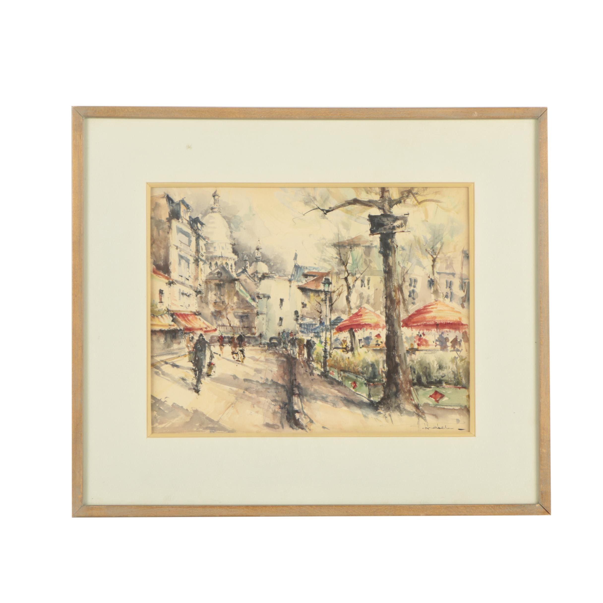 Hebel Late 20th Century Watercolor Painting of Montmartre Street Scene