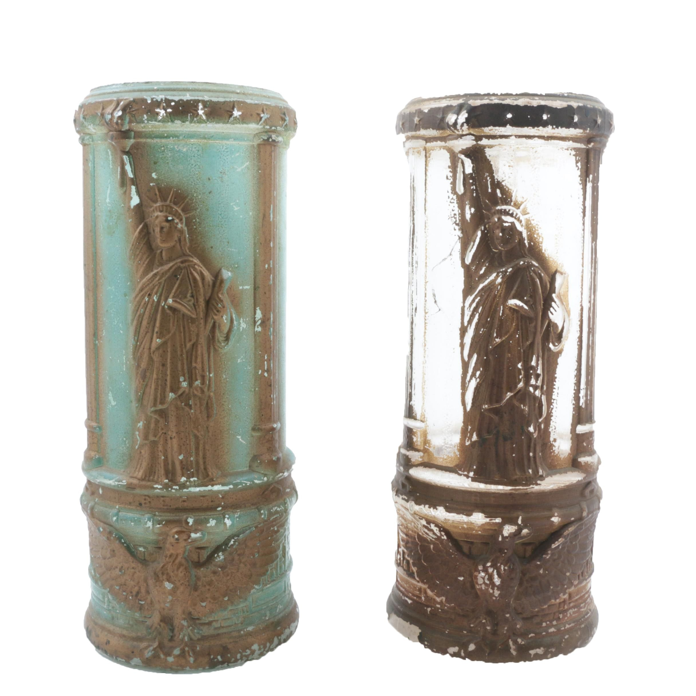 Pair Antique Molded Glass Statue of Liberty Pickle Jars