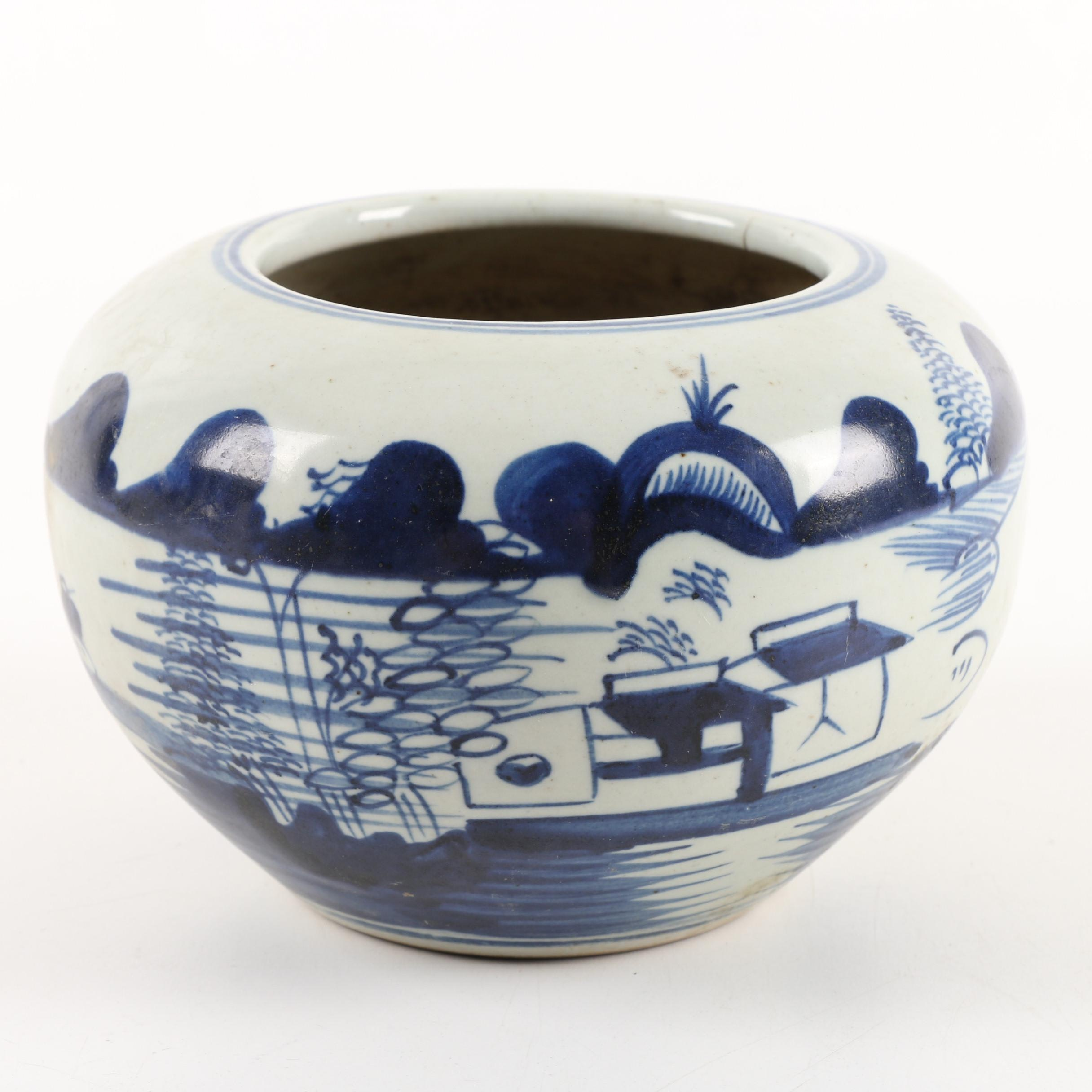 Chinese Hand-Painted Landscape Ceramic Planter