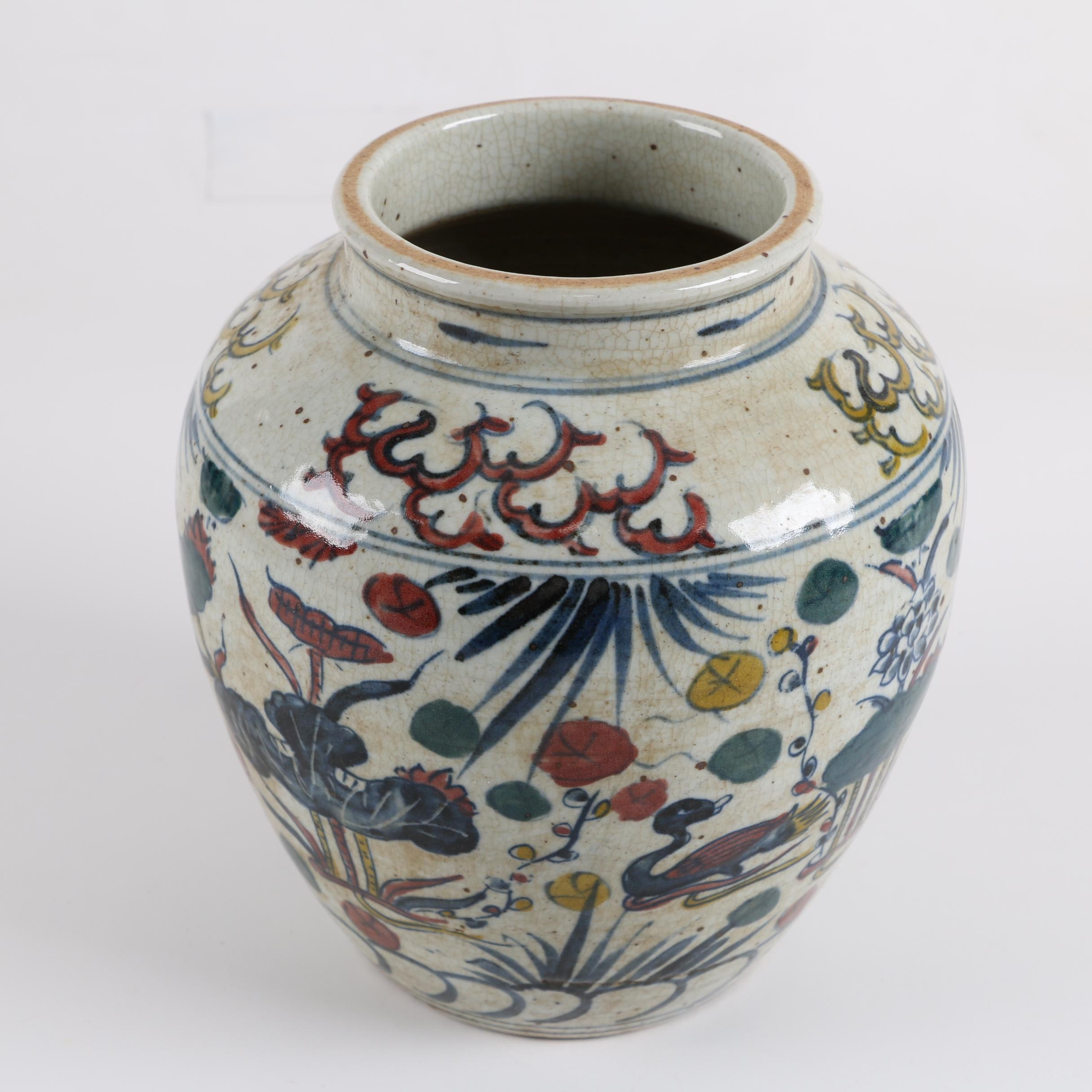 Chinese Hand-Painted Lily and Duck Motif Vase