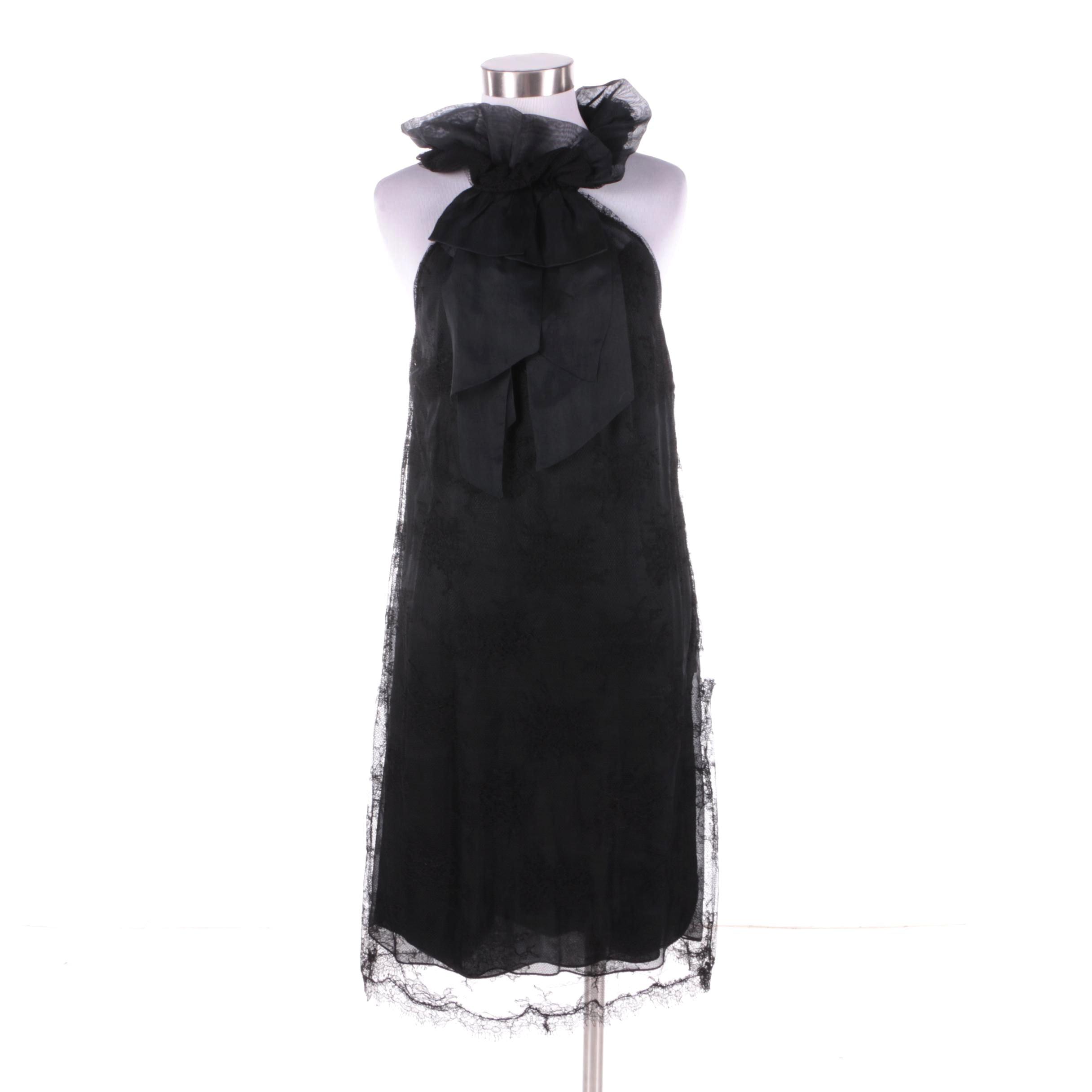 Monique Lhullier Black Lace and Silk Ribbon Neck Halter Dress