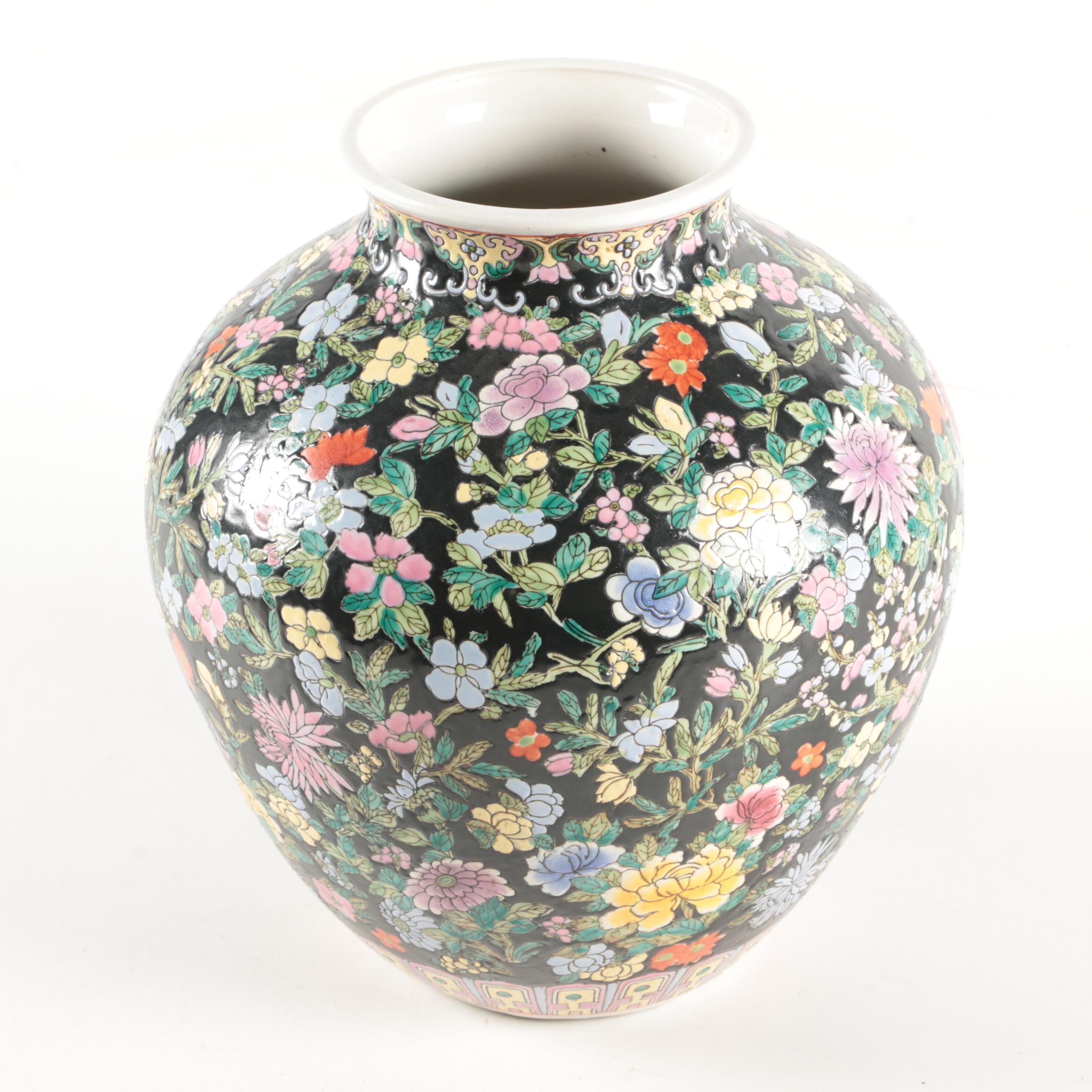 Chinese Ceramic Floral Motif Globular Vase