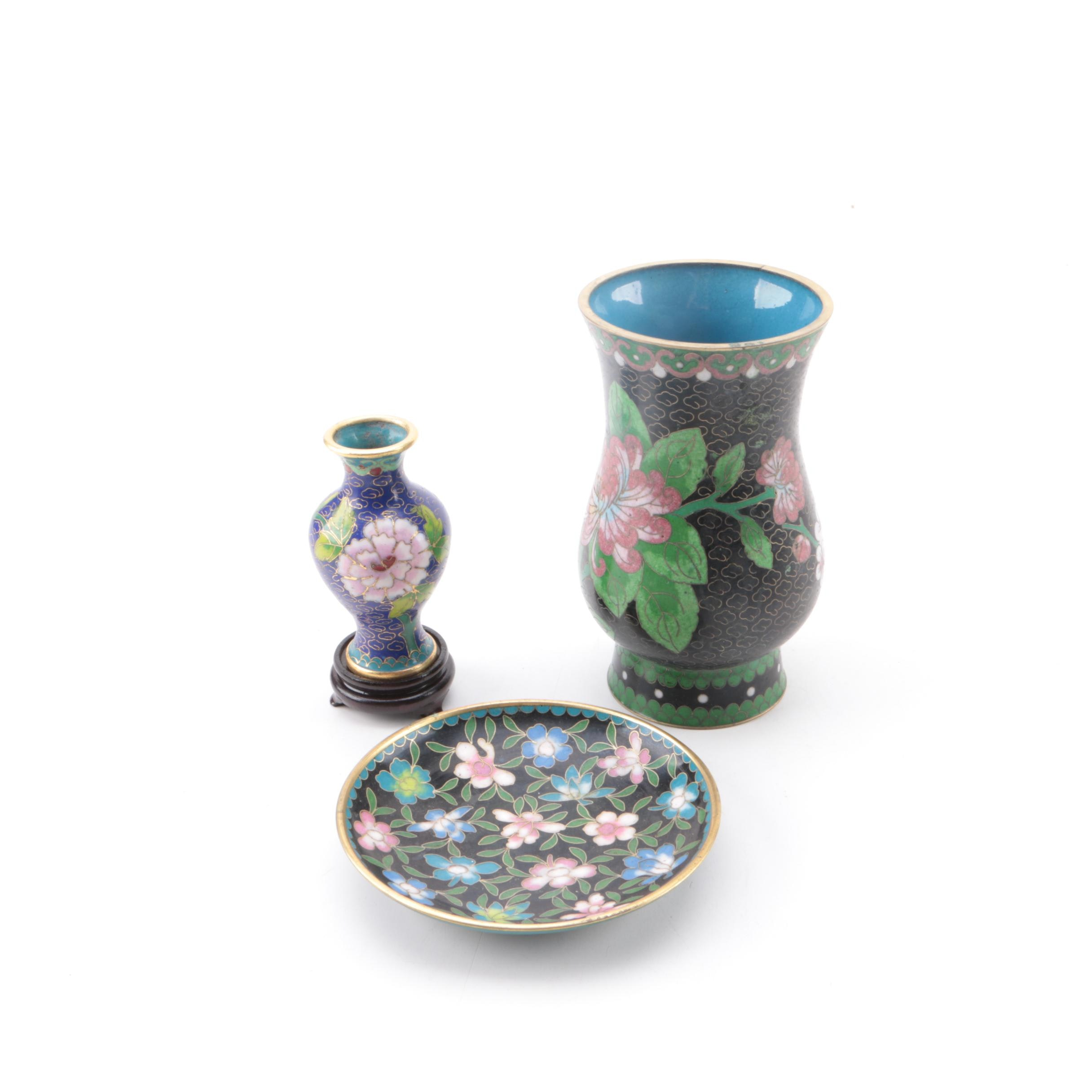 Chinese Cloisonne Vases and Plate