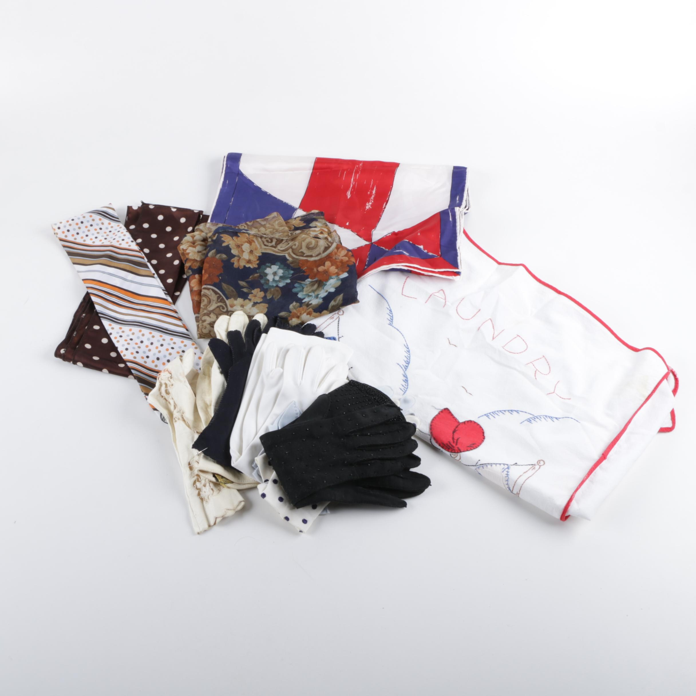 Women's Vintage Gloves and Scarves Including Vera and Laundry Bag