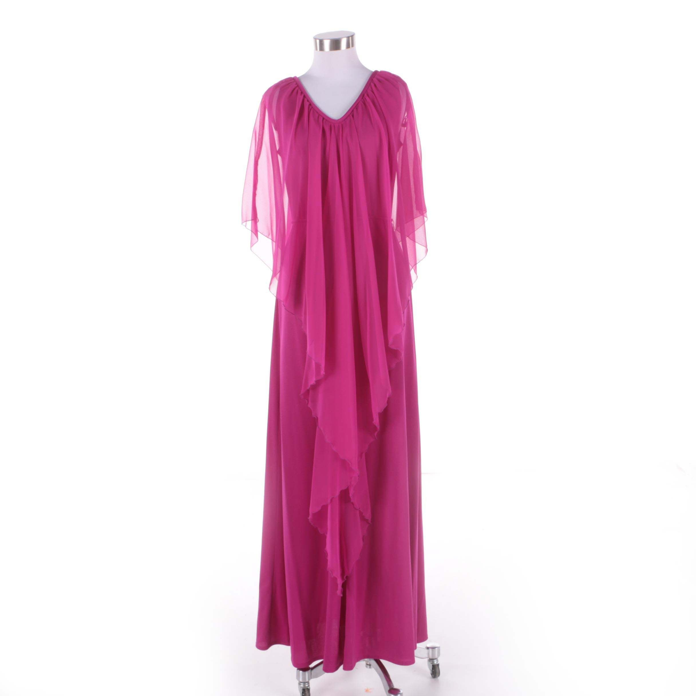 1970s Vintage Fandango Violet Maxi Evening Dress with Sheer Waterfall Shawl