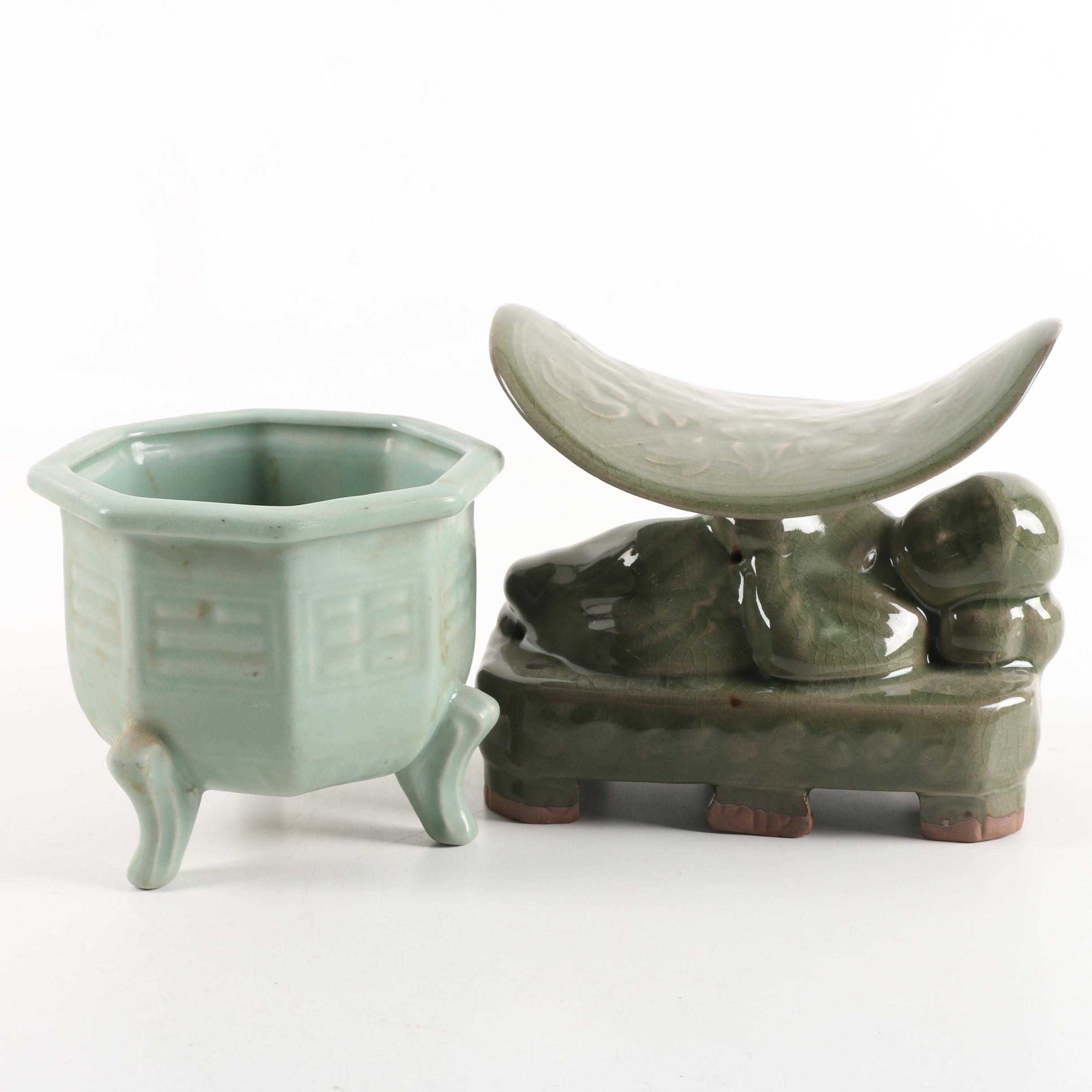 Chinese Celadon Ceramic Pillow and Bagua Vessel