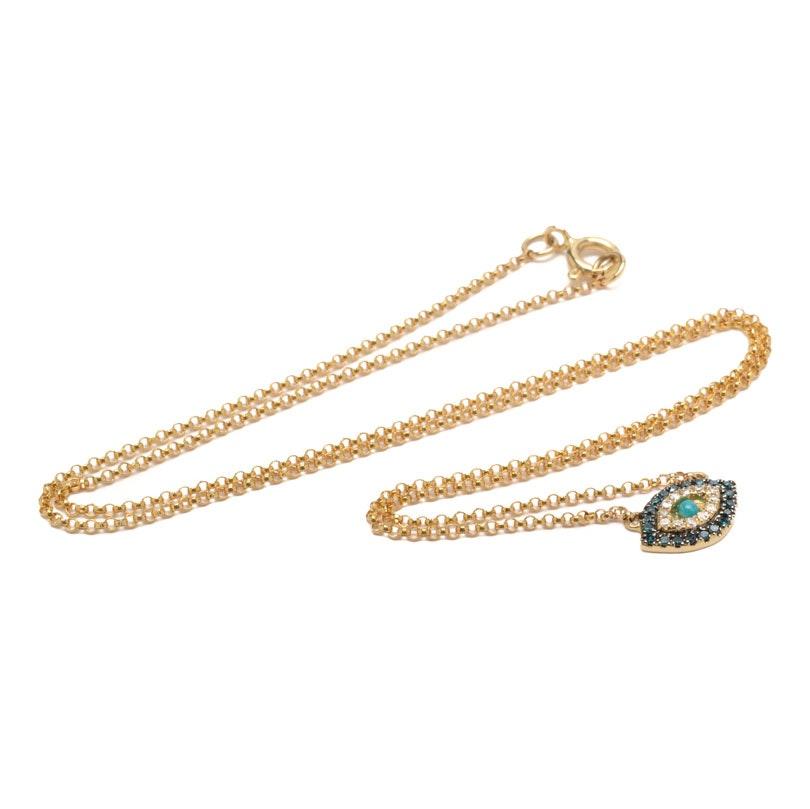 14K Yellow Gold Diamond and Amazonite Pendant Necklace