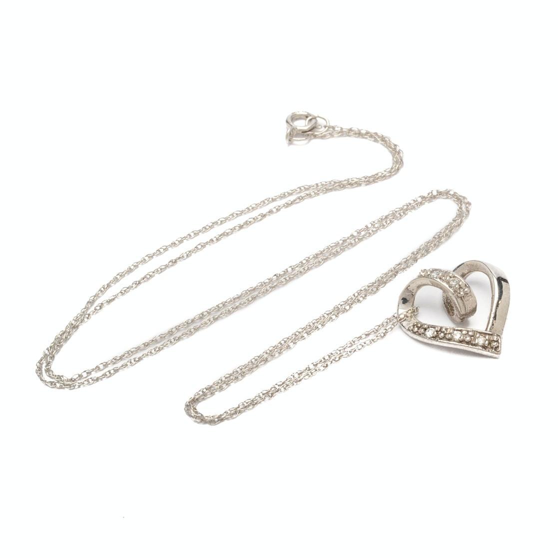 10K White Gold Diamond Heart Pendant on 14K Gold Chain Necklace