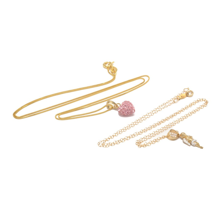 14K Yellow Gold and Sterling Silver Pendant Necklaces