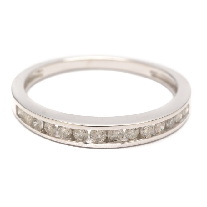 10K White Gold Channel Set Diamond Ring