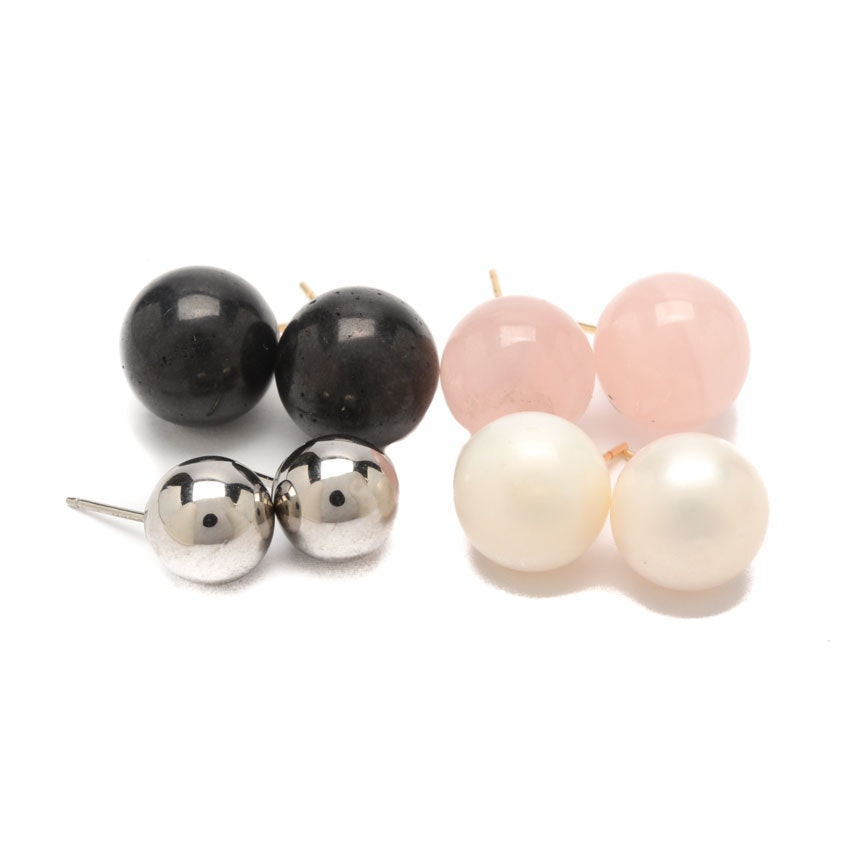 14K Yellow Gold Gemstone Stud Earrings Including Cultured Pearl