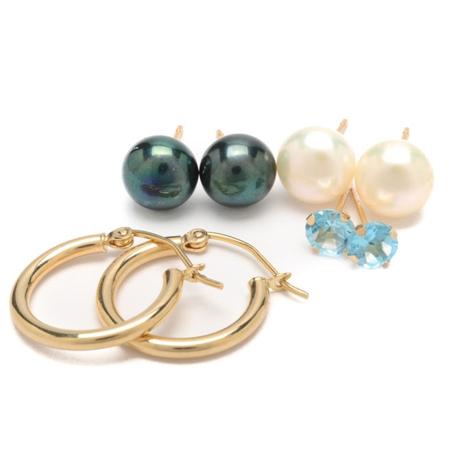 14K Yellow Gold Cultured Pearl and Topaz Earrings