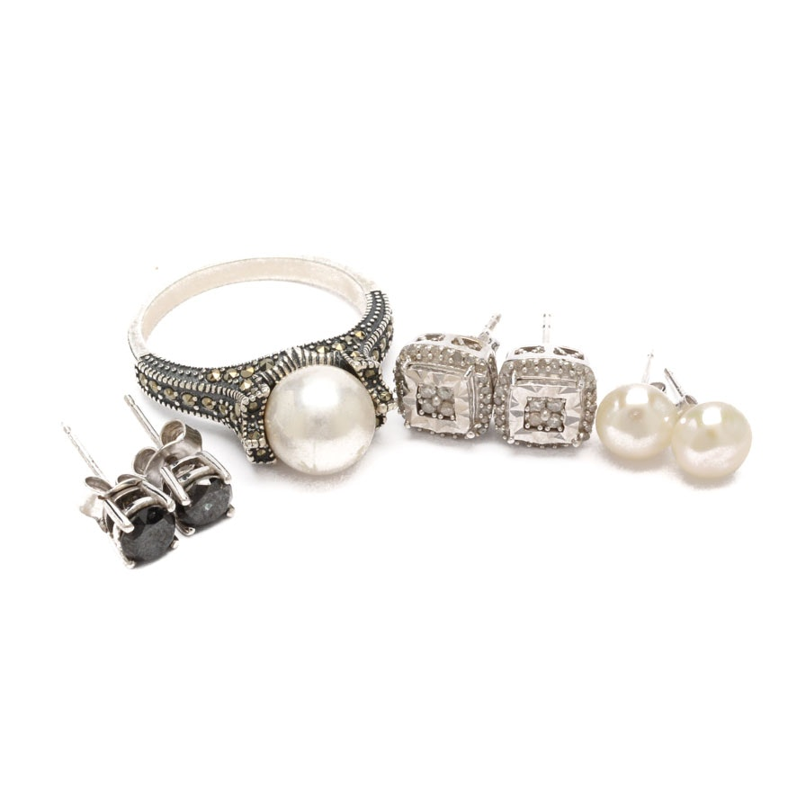 Sterling Silver Gemstone Jewelry Including Diamonds and Pearls
