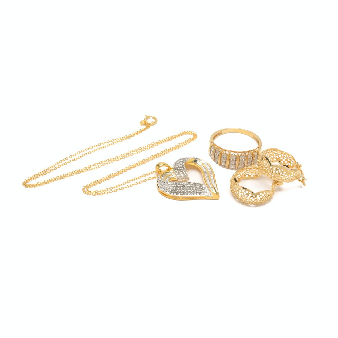Gold Wash Over Sterling Silver and Costume Diamond Jewelry