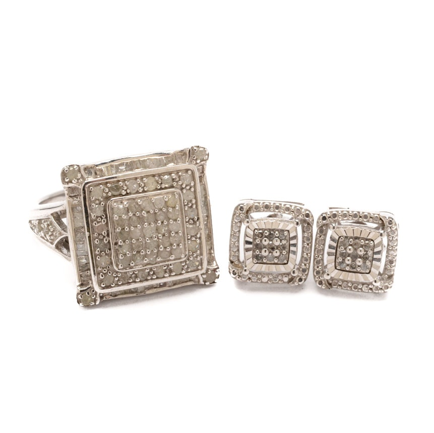 Sterling Silver Diamond Earrings and Ring