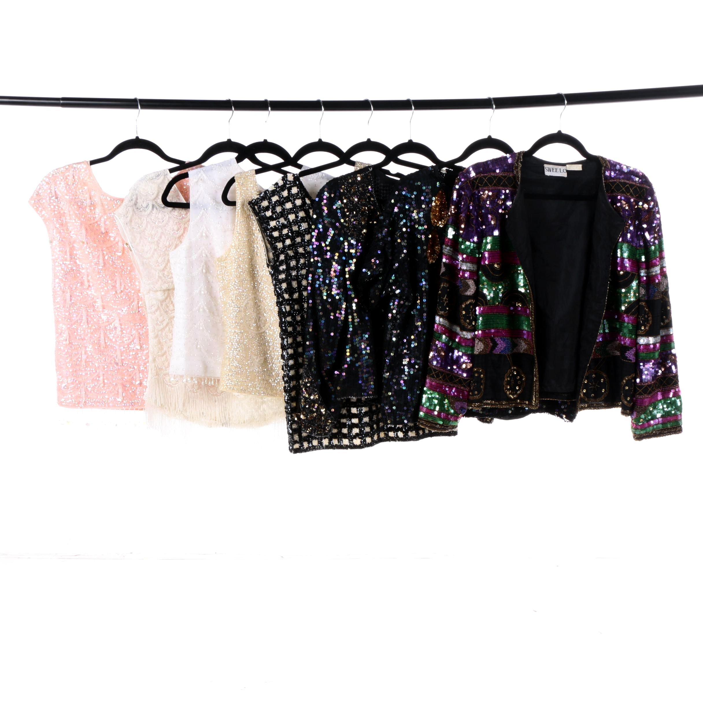 Women's Vintage Sequin and Beading Tops Including Silk, Wool
