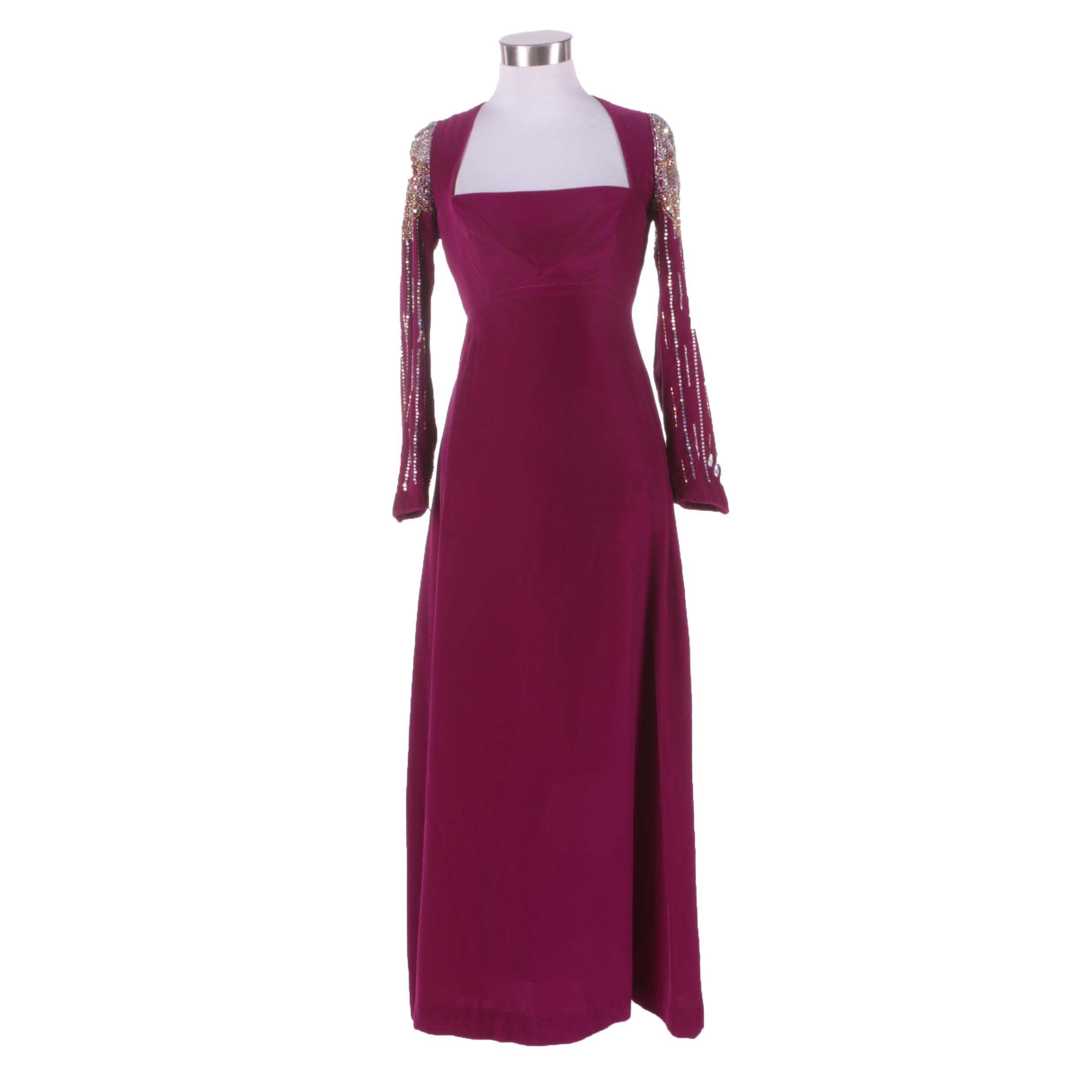 1960s Vintage Mr. Blackwell Custom Embellished Purple Velvet Evening Dress