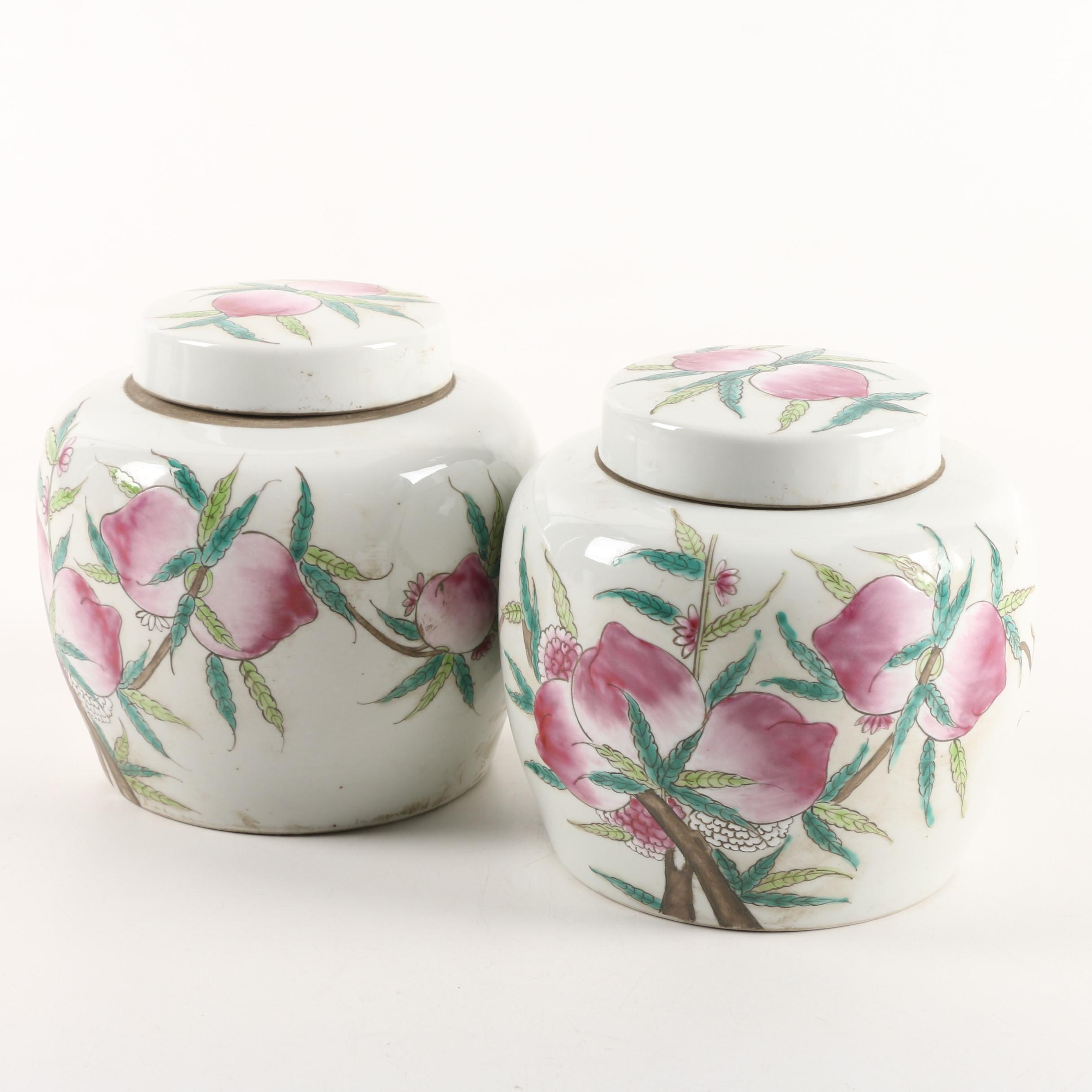 Matching Chinese Lidded Porcelain Jars