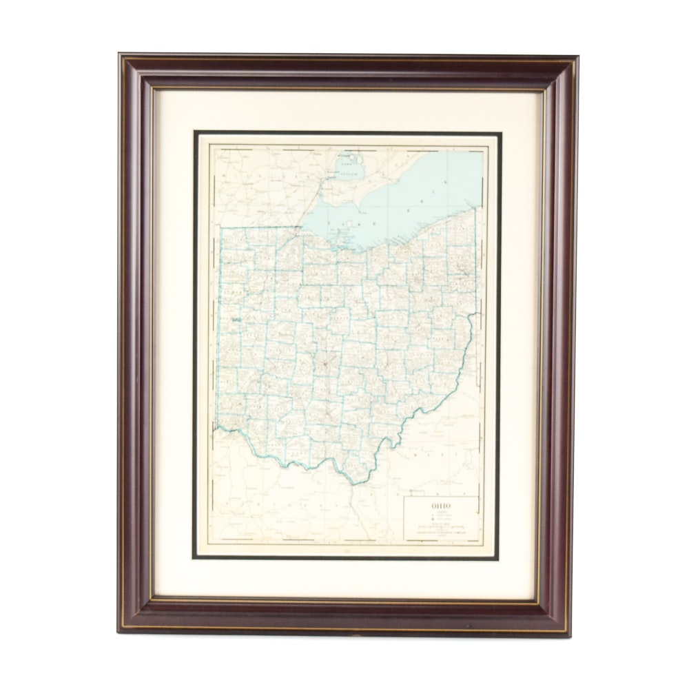 Mid-Century Geographical Publishing Company Engraved Map of Ohio