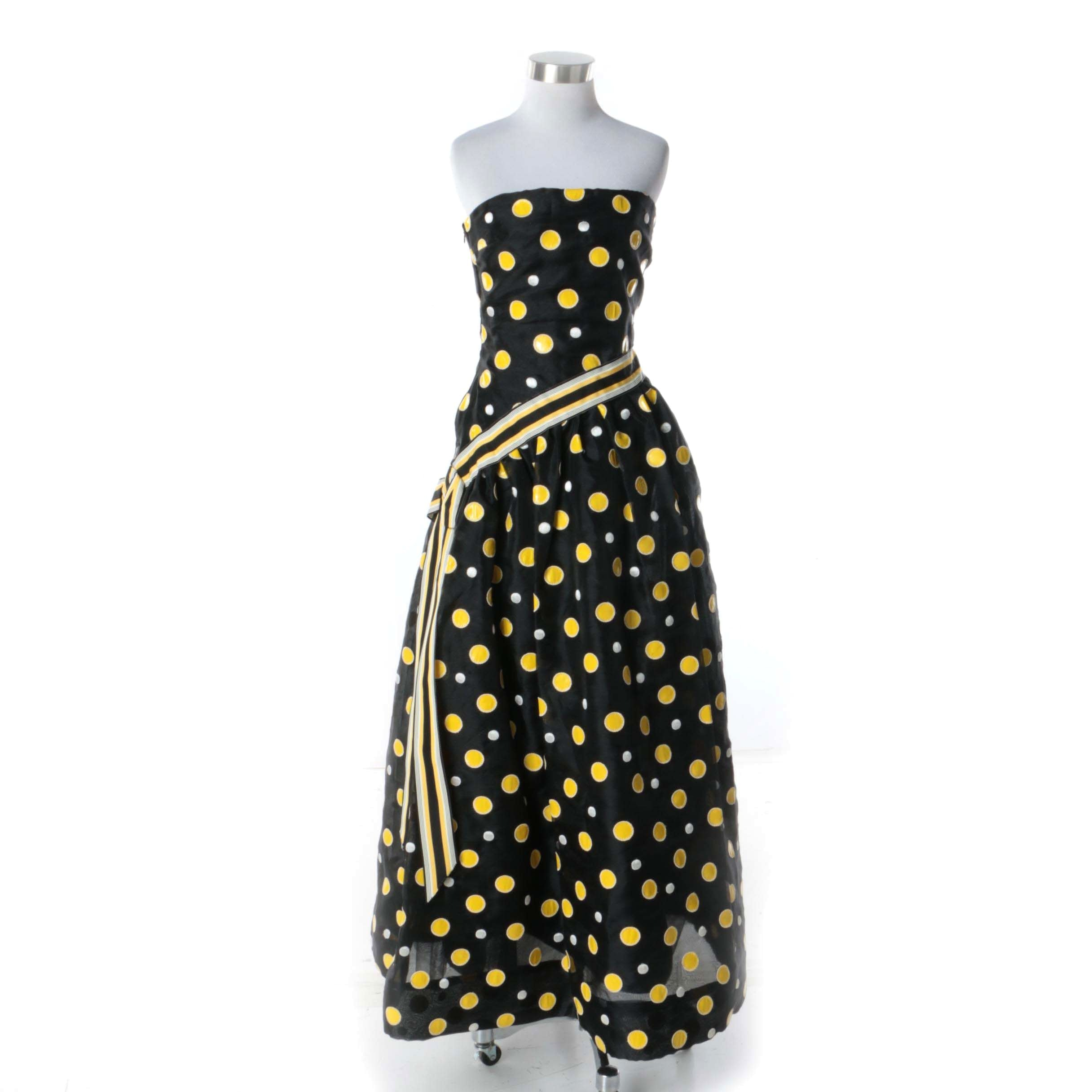 1980s Arnold Scaasi for Elizabeth Arden Salon Black and Yellow Polka Dot Gown
