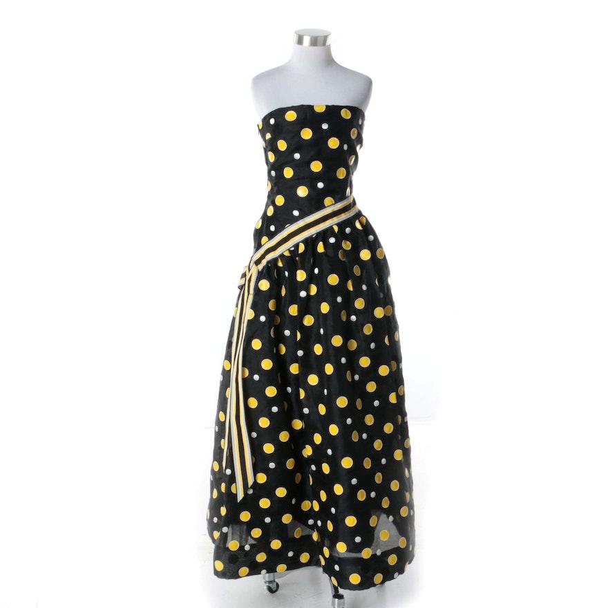1980s Arnold Scaasi For Elizabeth Arden Salon Black And Yellow Polka