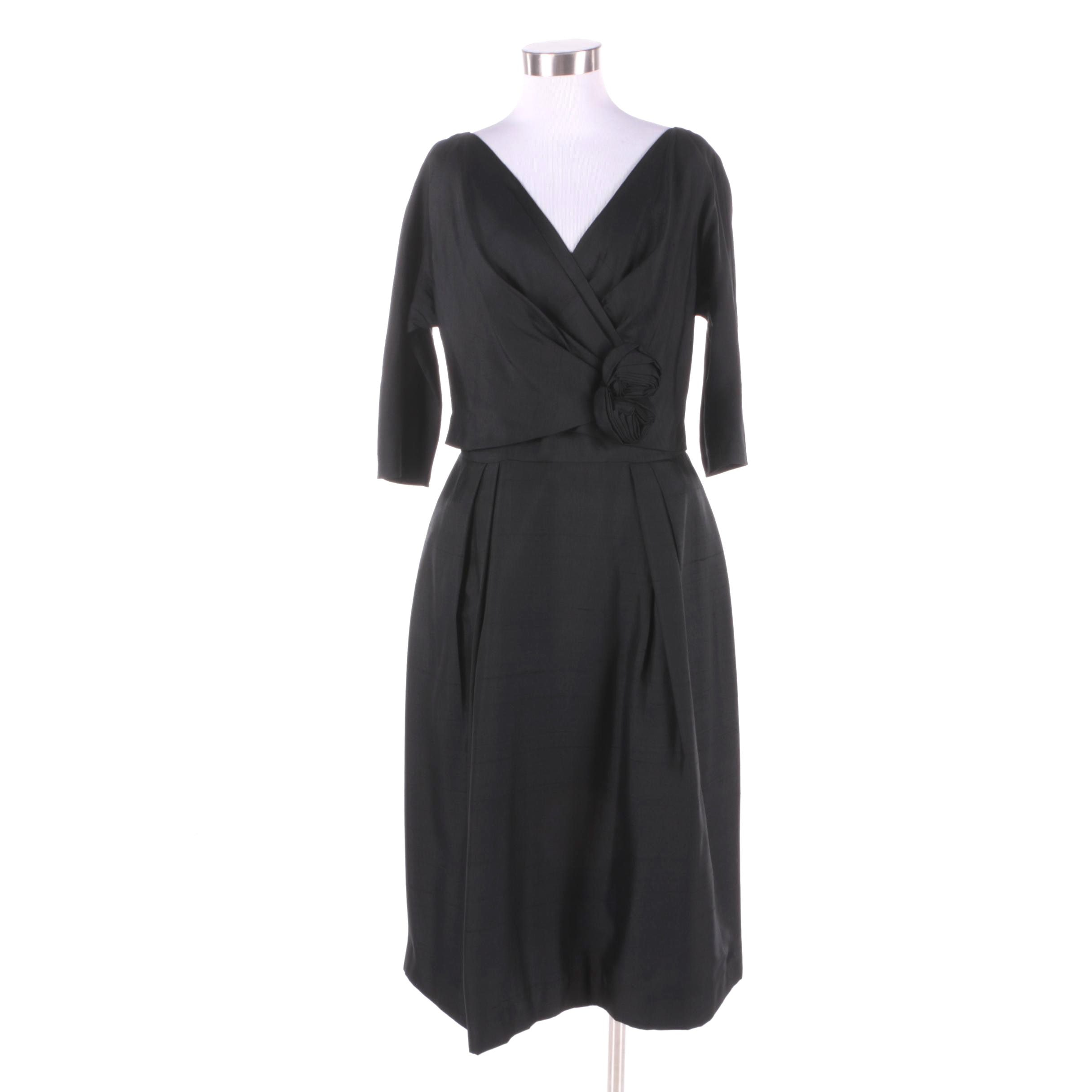 1950s Vintage Black Silk Cocktail Dress with Wrap Top and Rose Detail