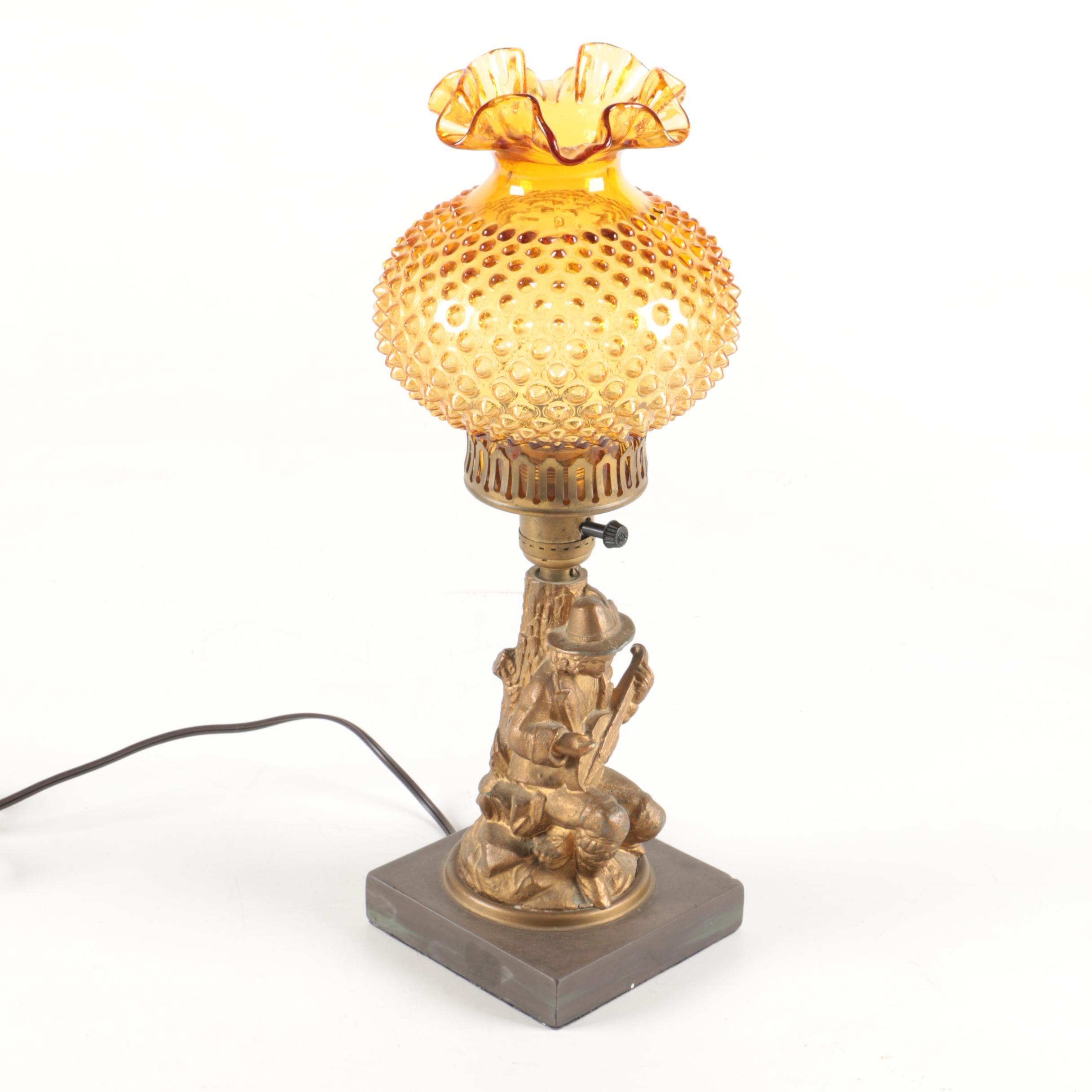 Vintage Hobnail Figural Lamp