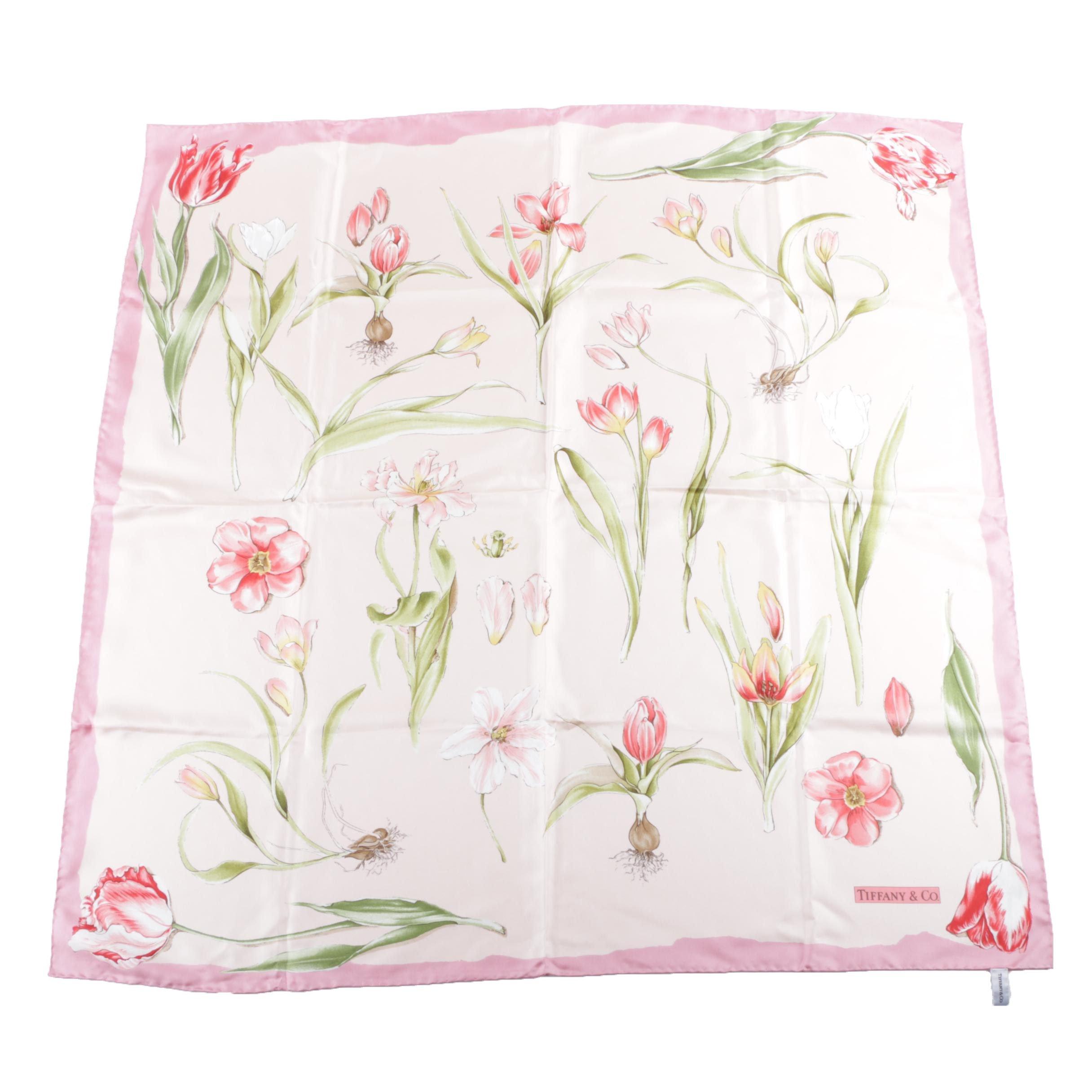 Tiffany & Co. Pink Silk Scarf